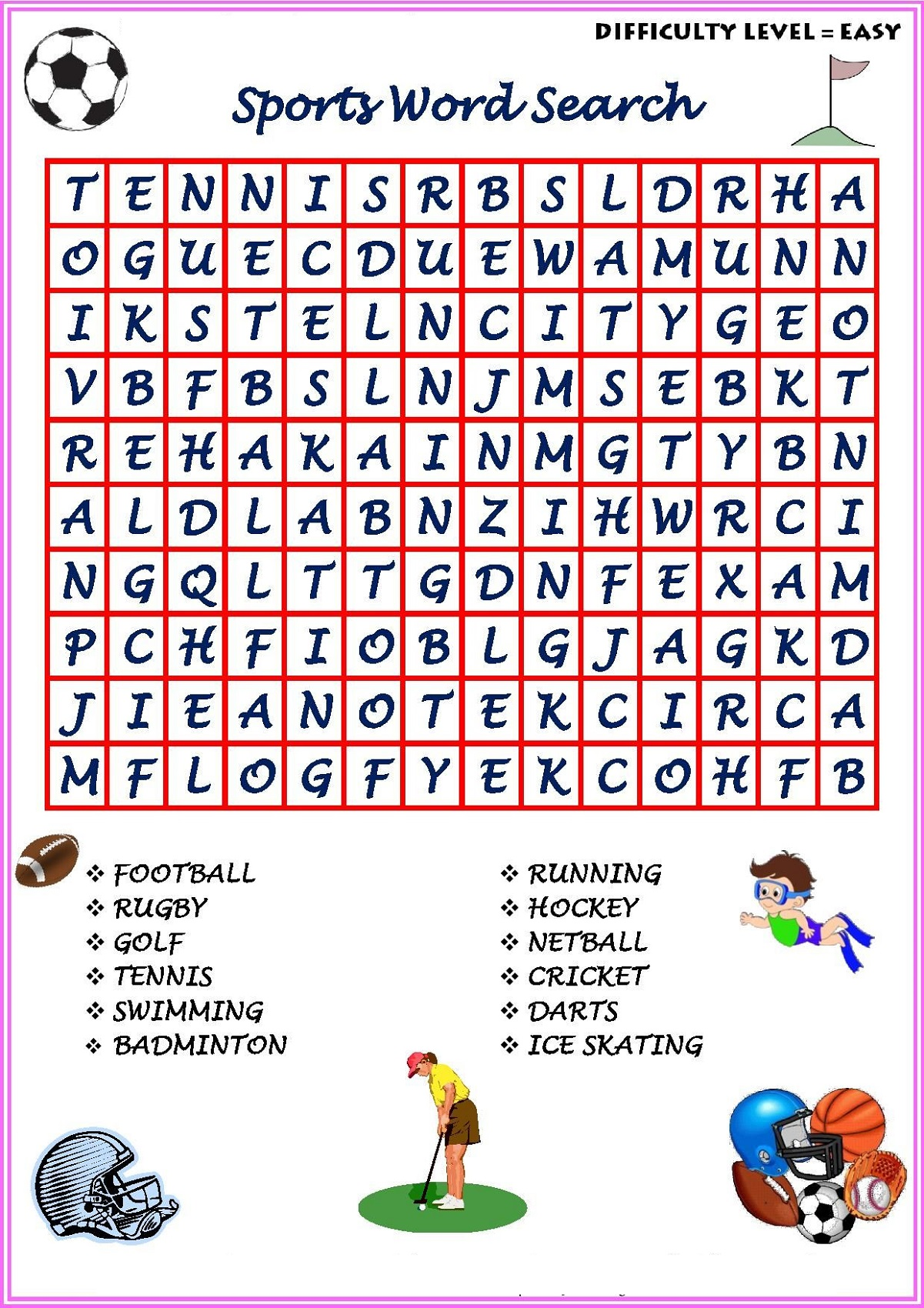Easy Sport Word Searches