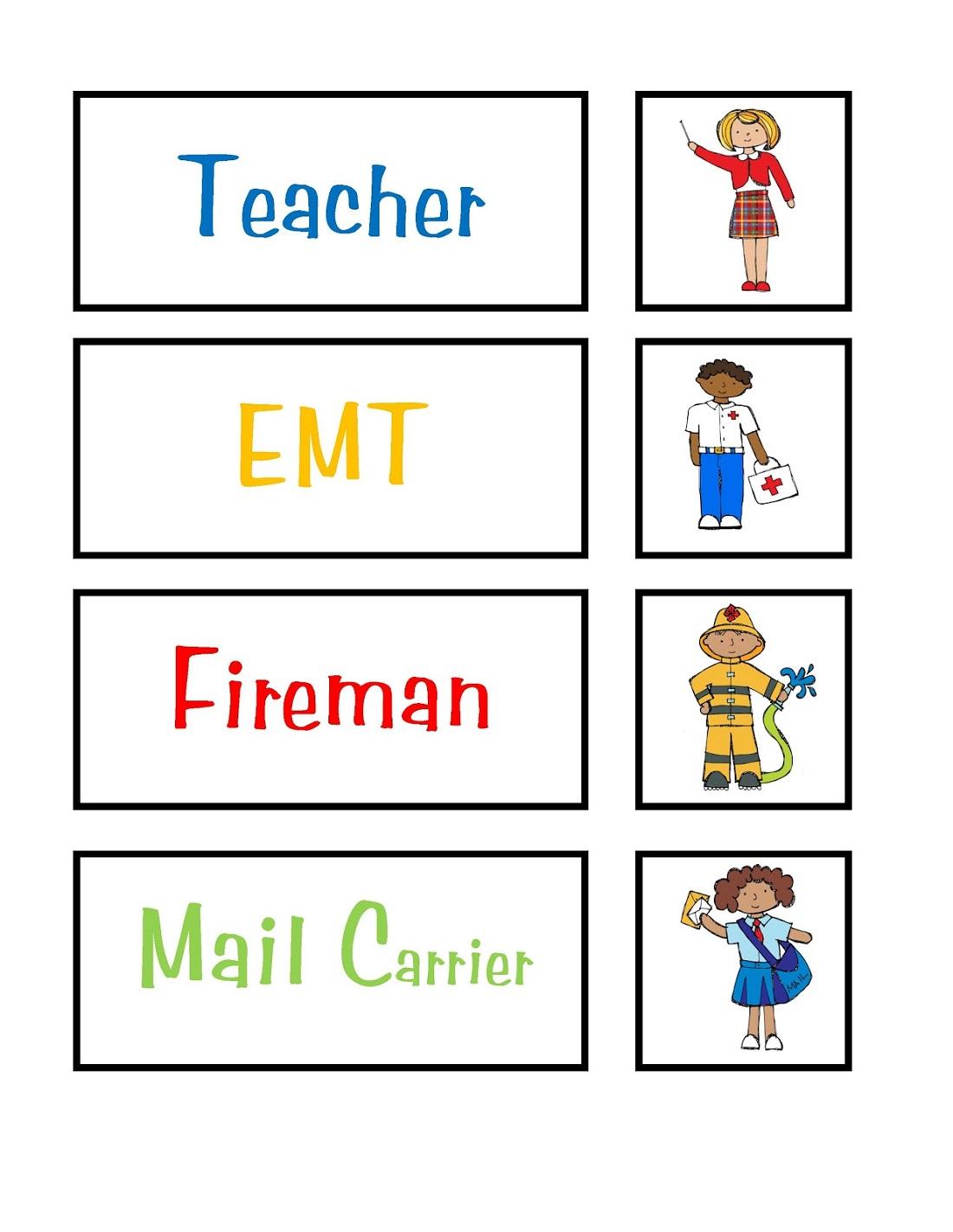 Free Preschool Printables Career