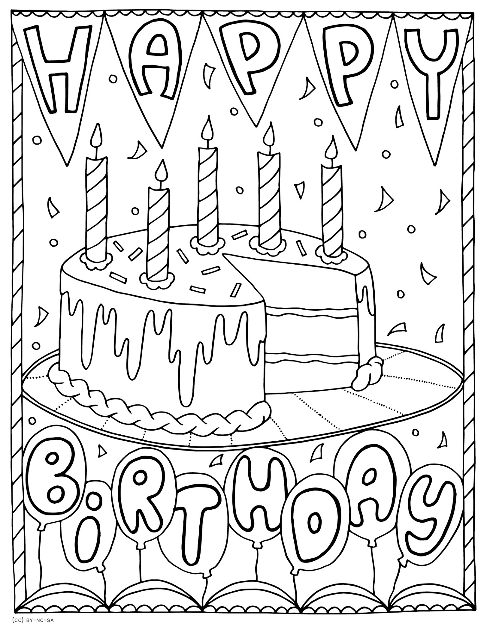 Printable Happy Birthday Color Pages