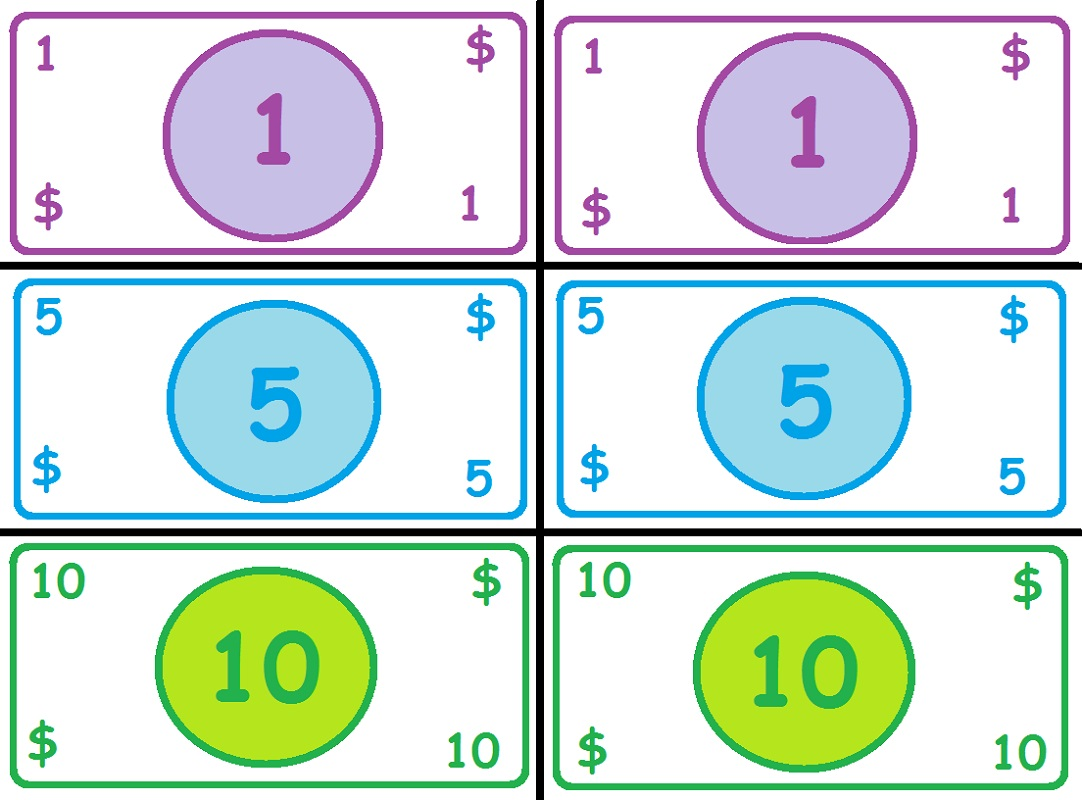 Simple Printable Play Money