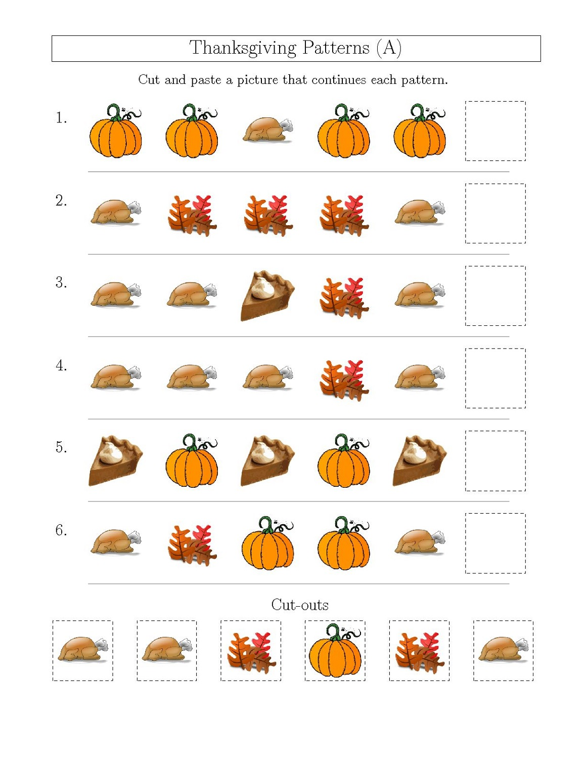 Thanksgiving Numbers and Shapes