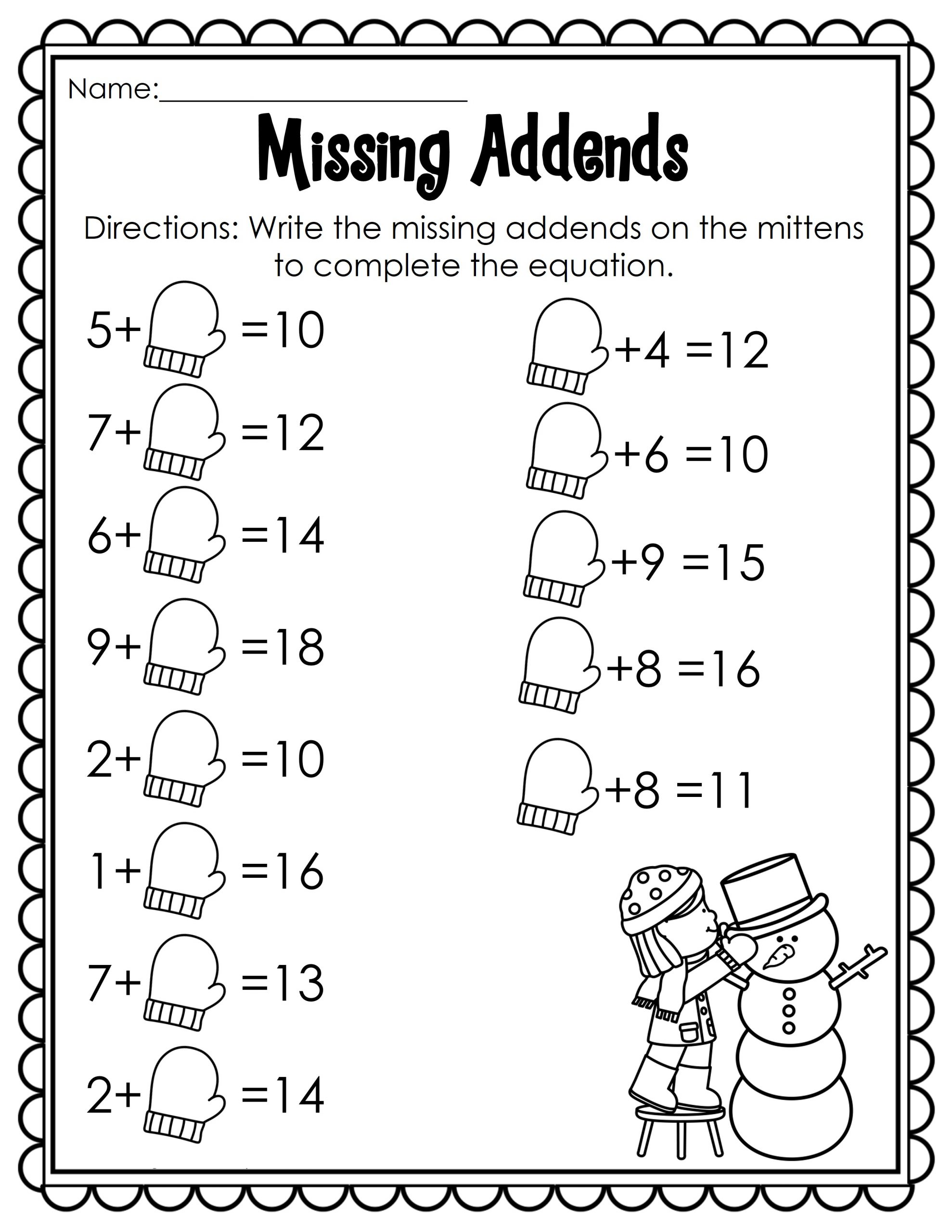 Winter Fun Math Worksheets