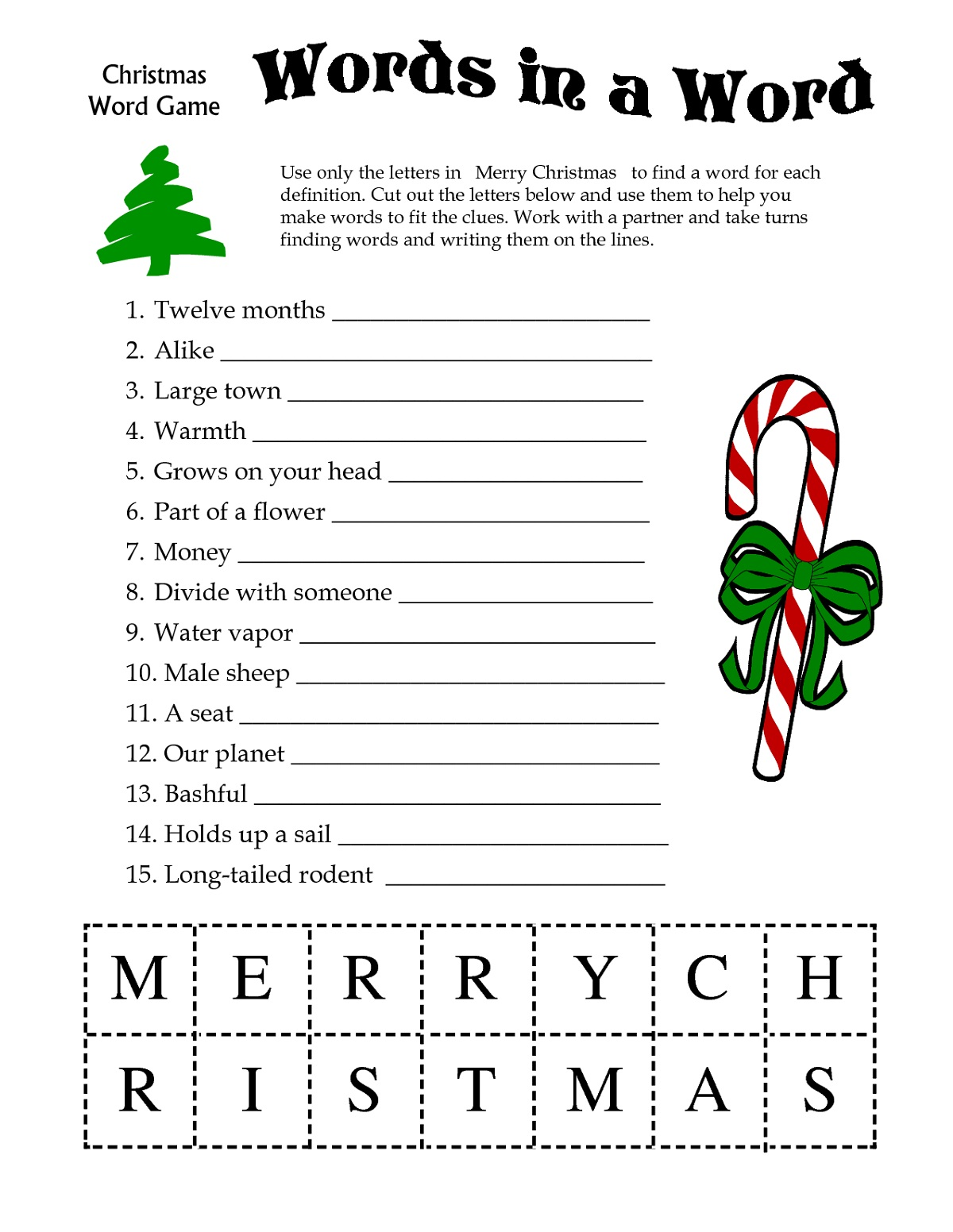 Words Christmas Activities for Kids