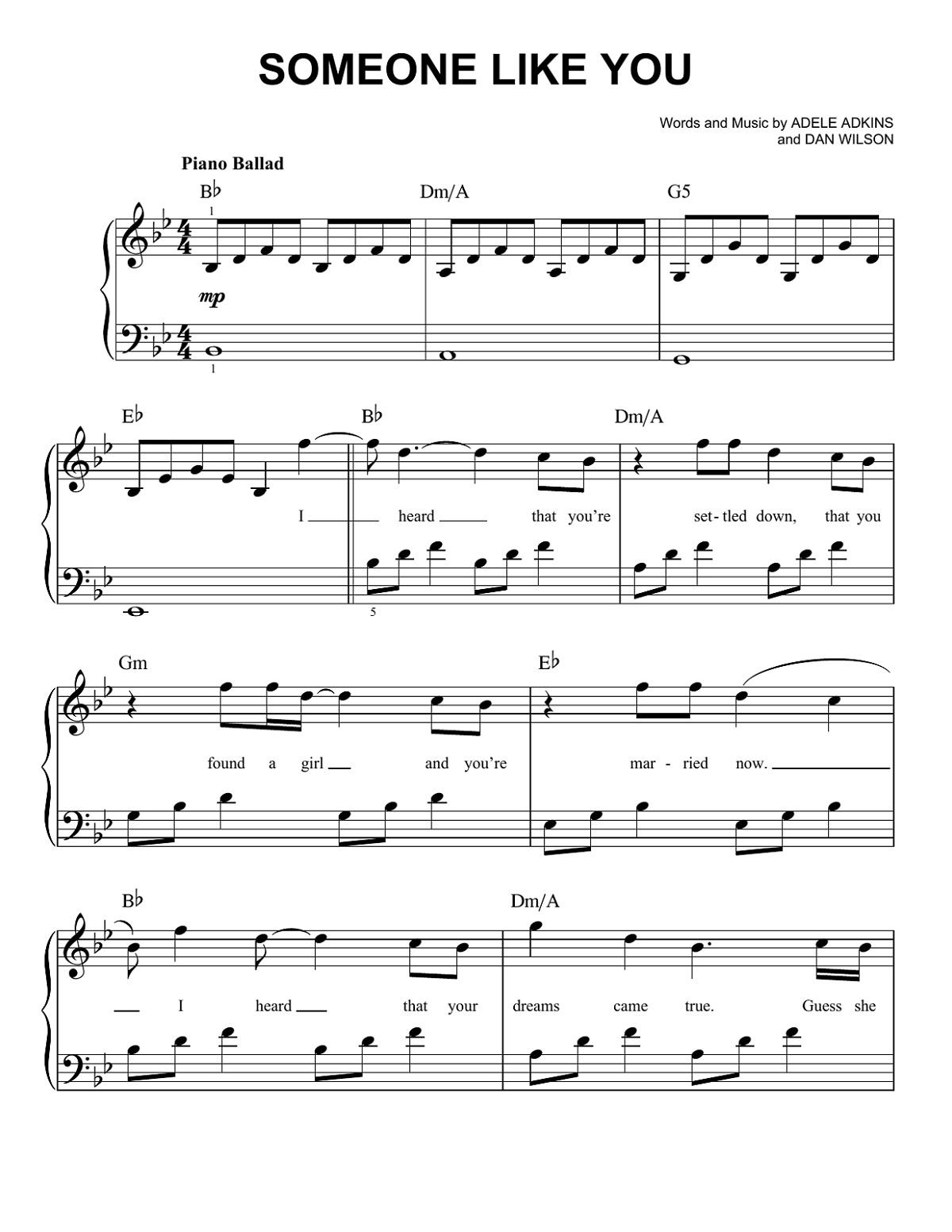 Adele Piano Sheet Music Someone Like You