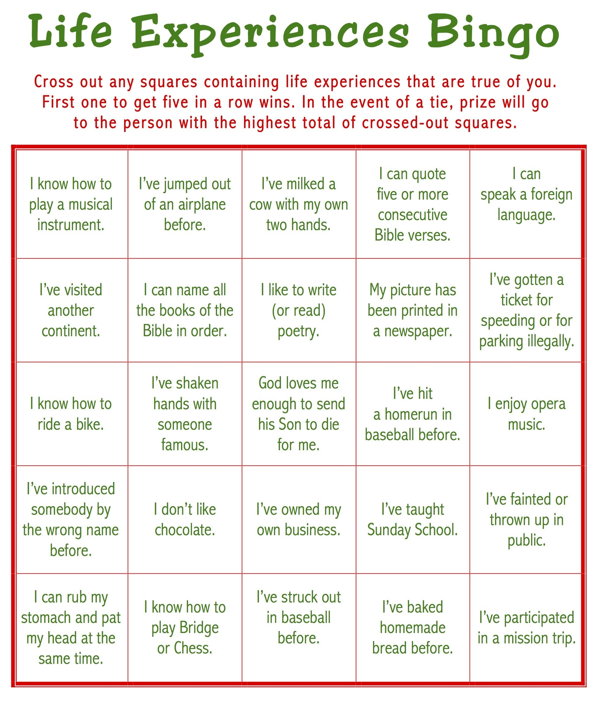 Bingo Printable Games for Adults
