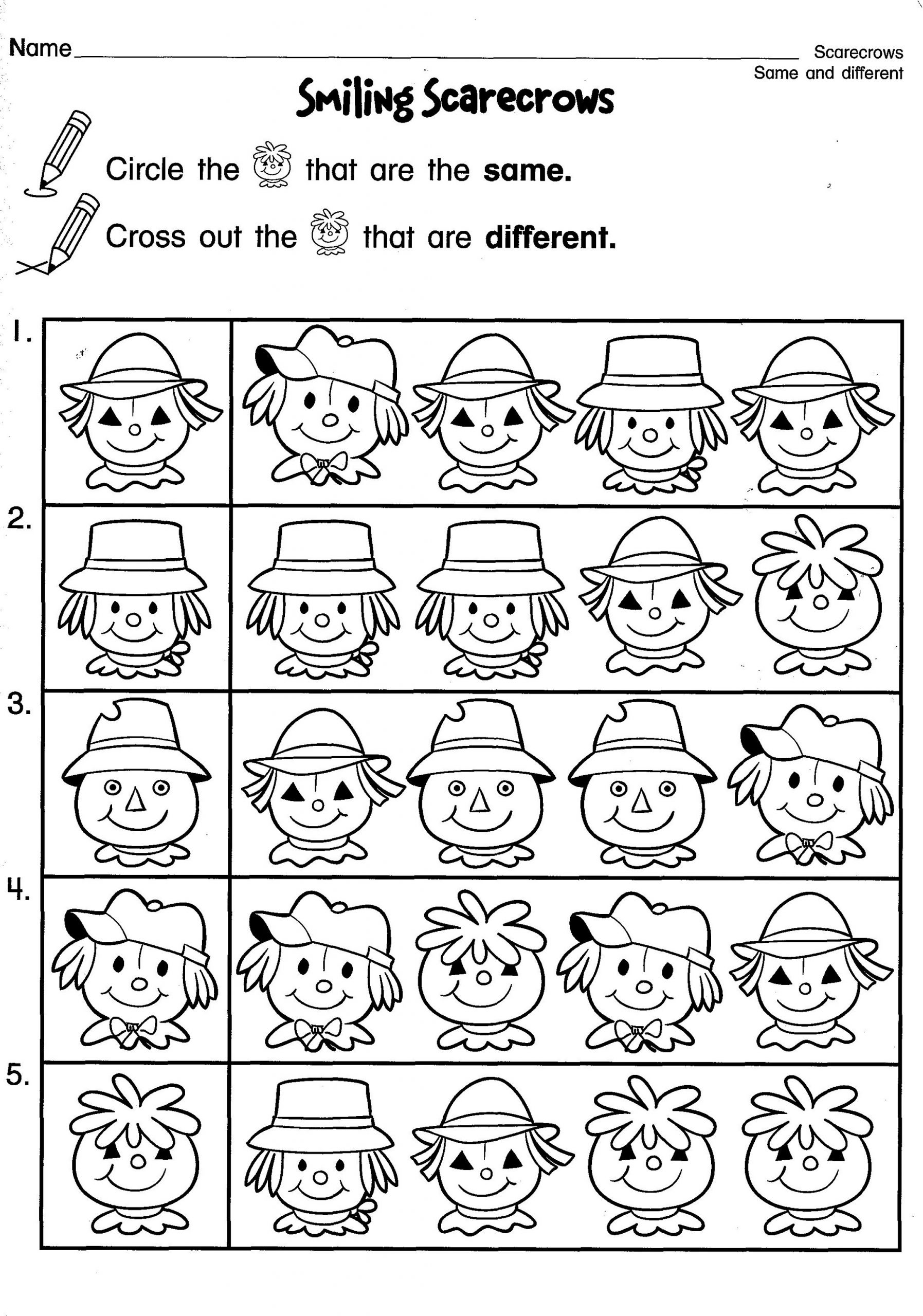 Fun Same And Different Worksheets