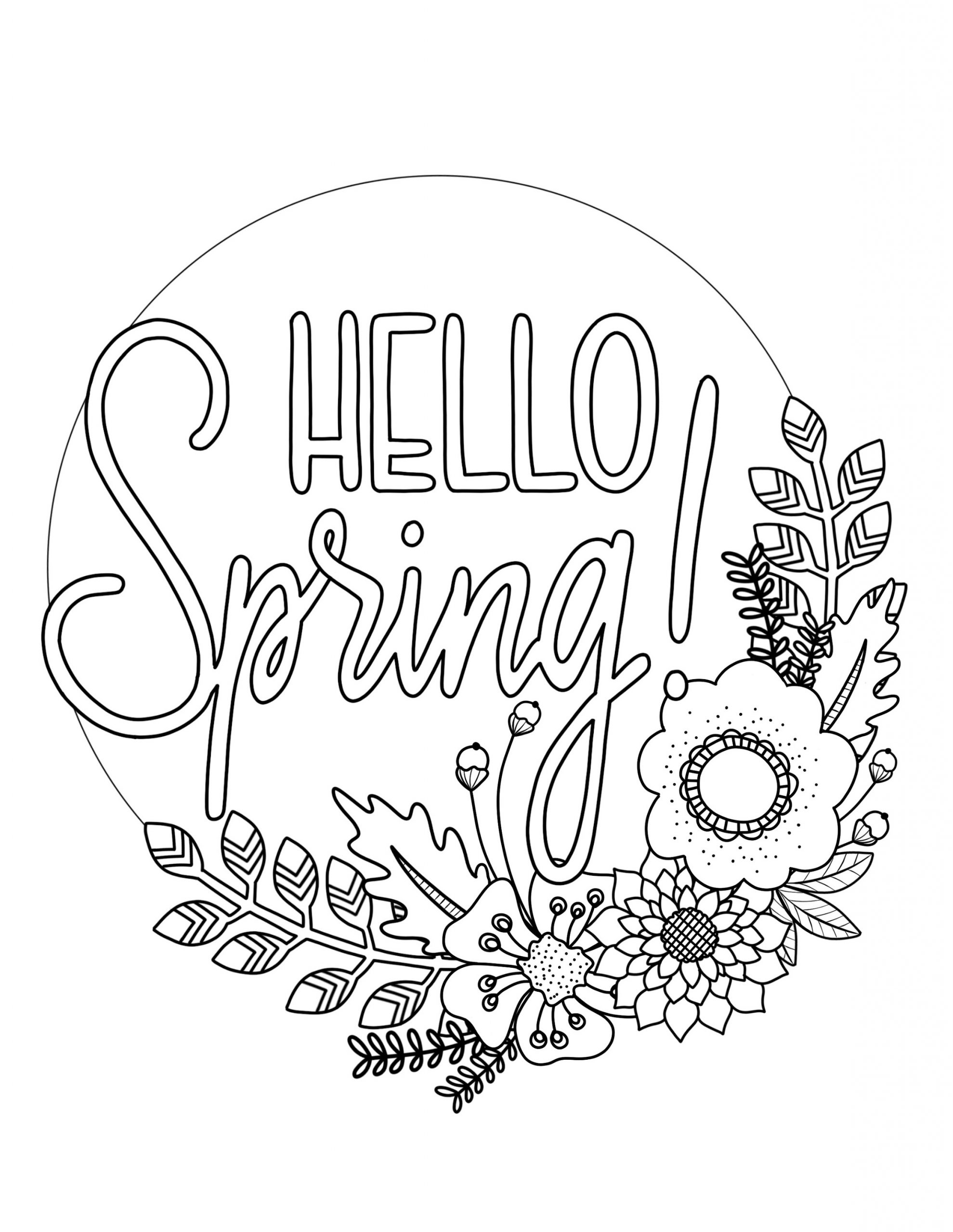 Hello Spring Coloring Pictures