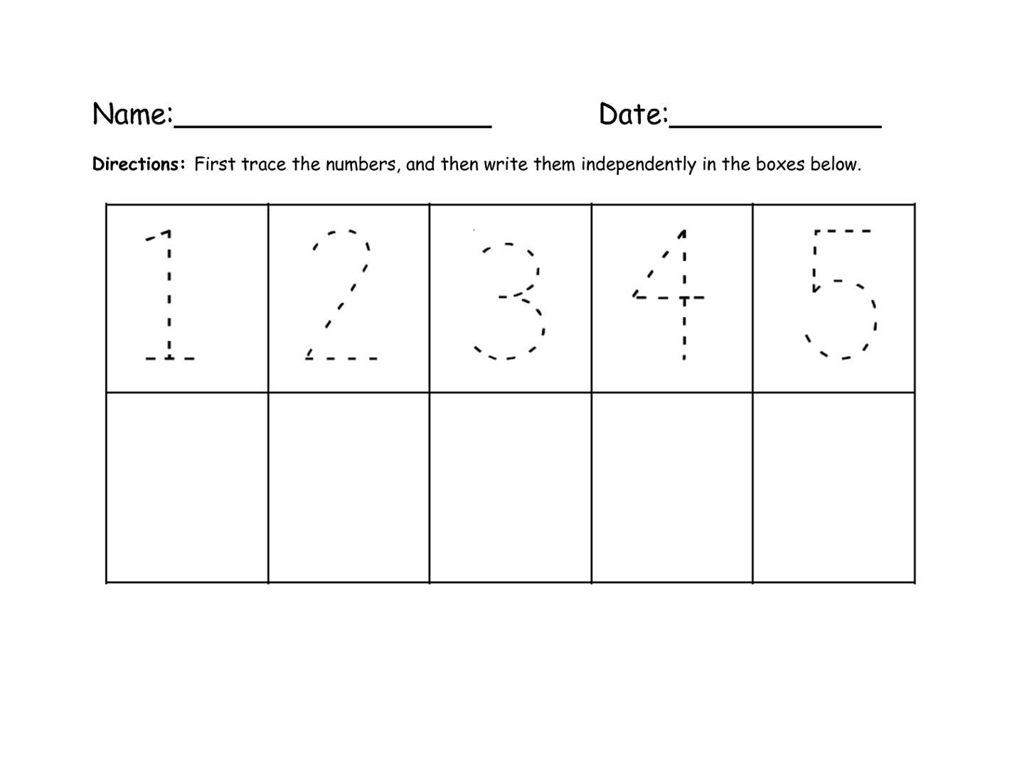 Writing Numbers Worksheet Easy