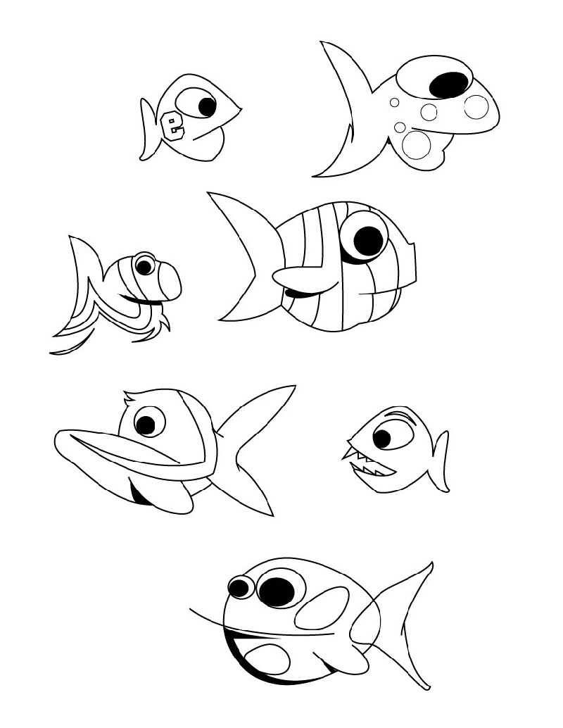 Fish Coloring Page Cute