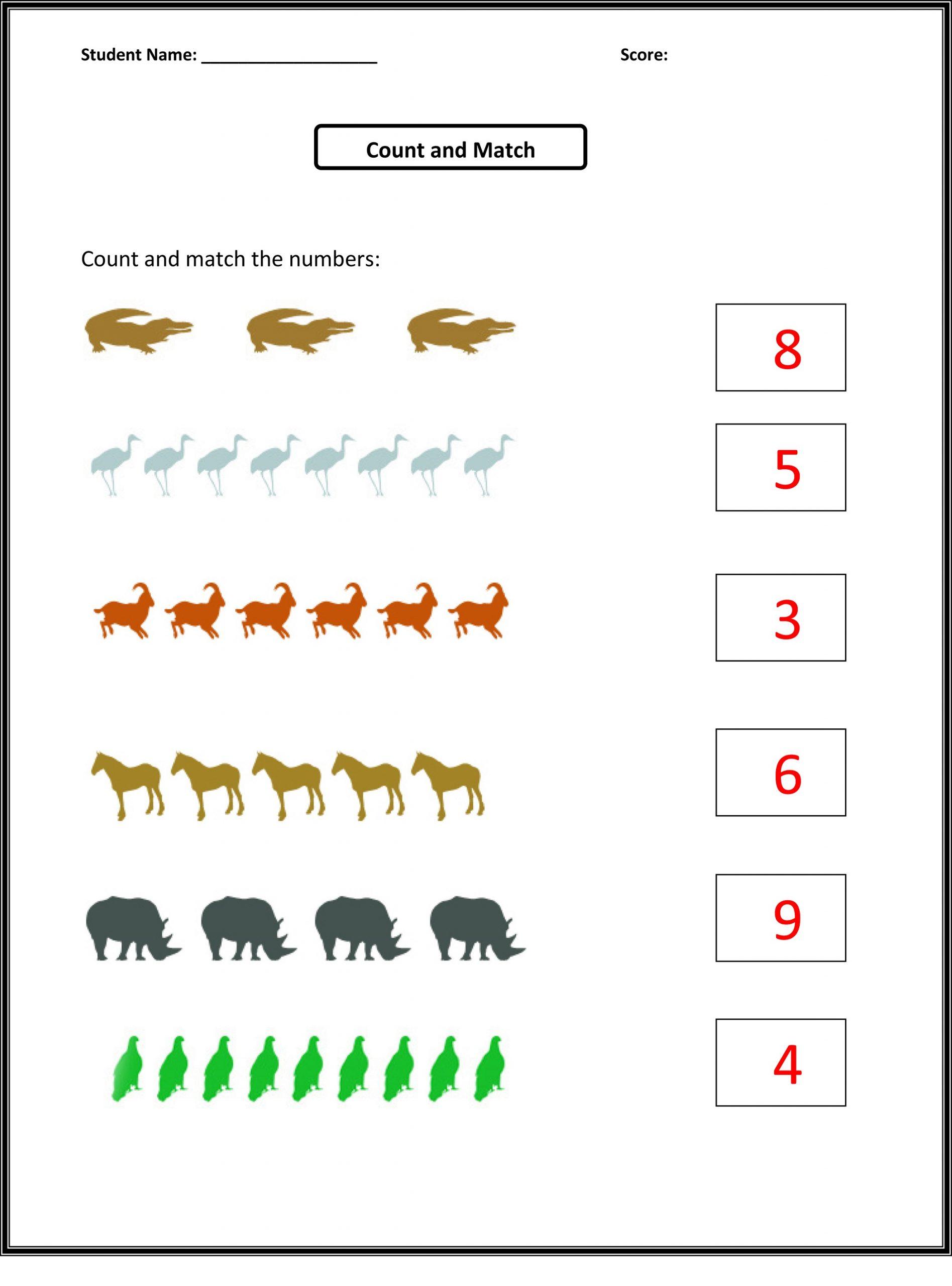 Matching Number Worksheet