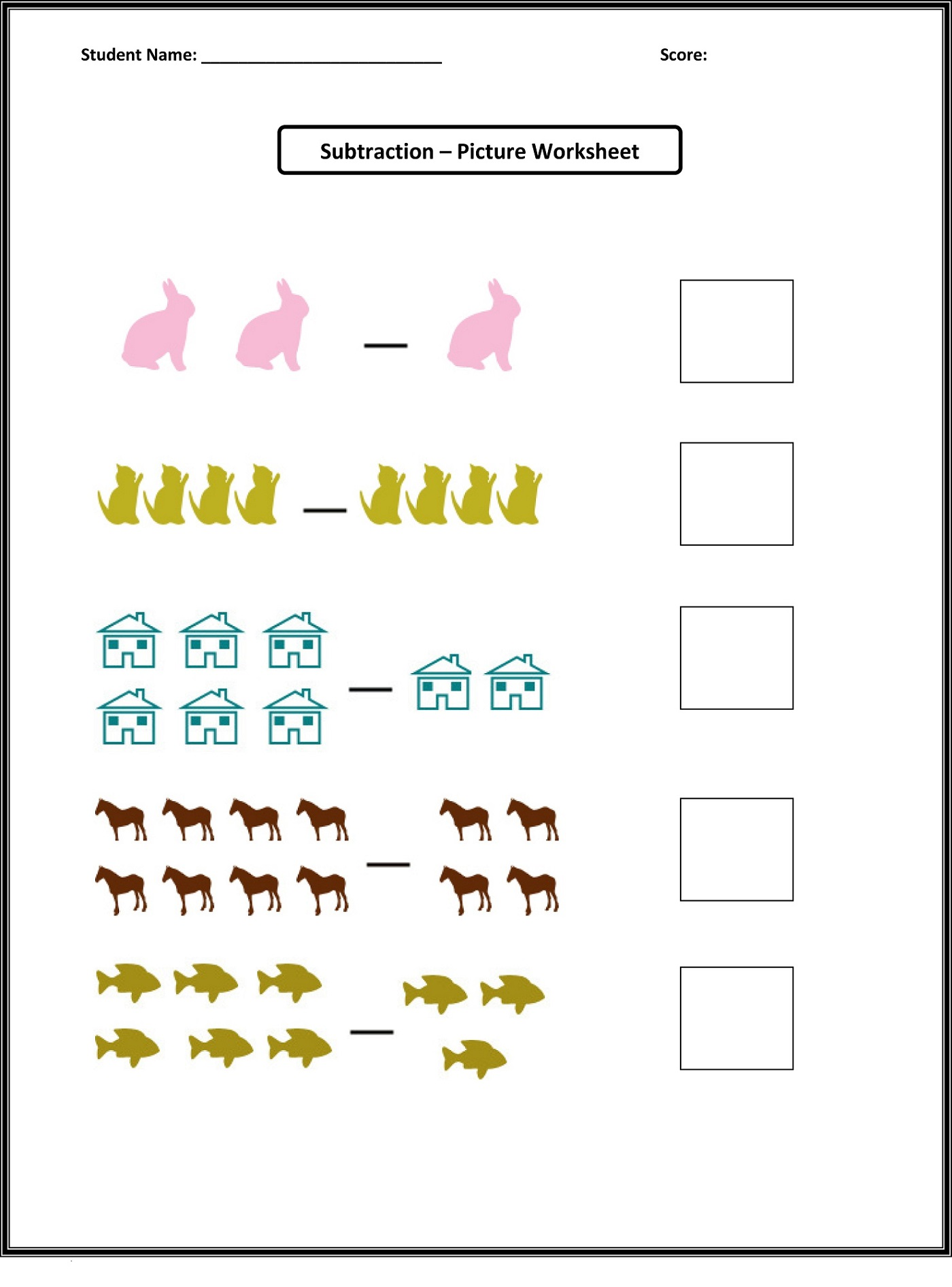 Picture Math Worksheets Subtraction