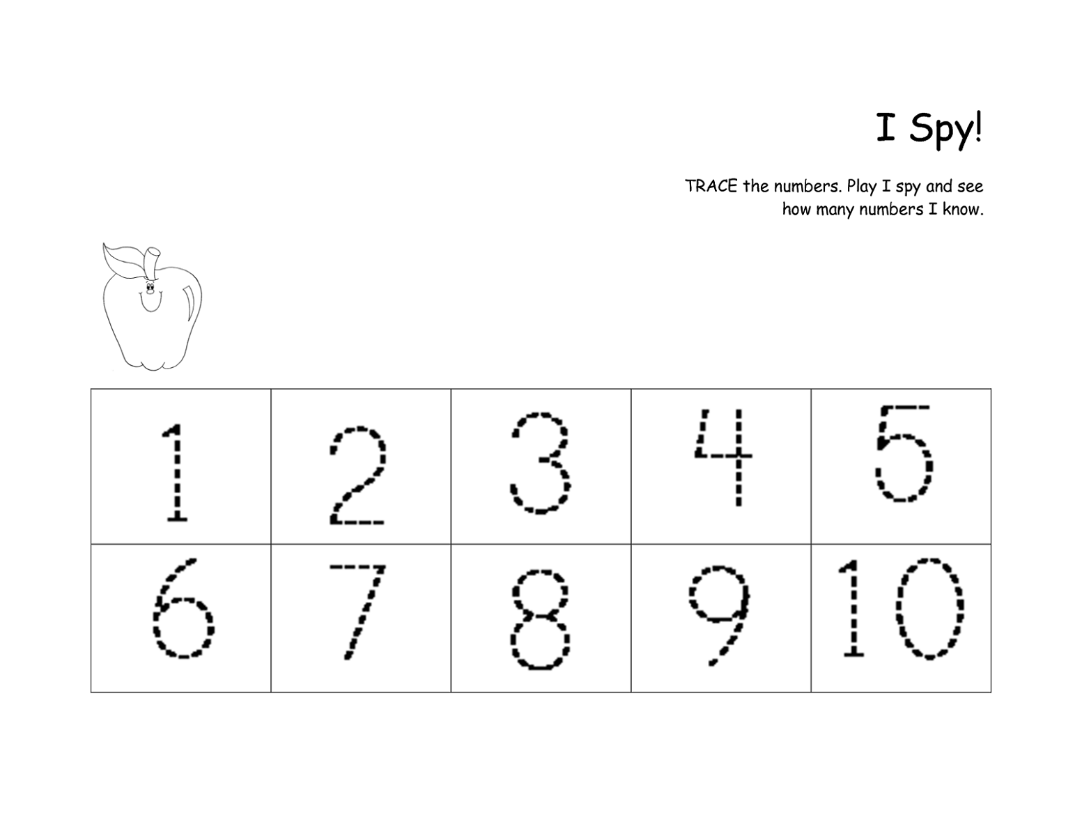 Printable Traceable Numbers 1-10