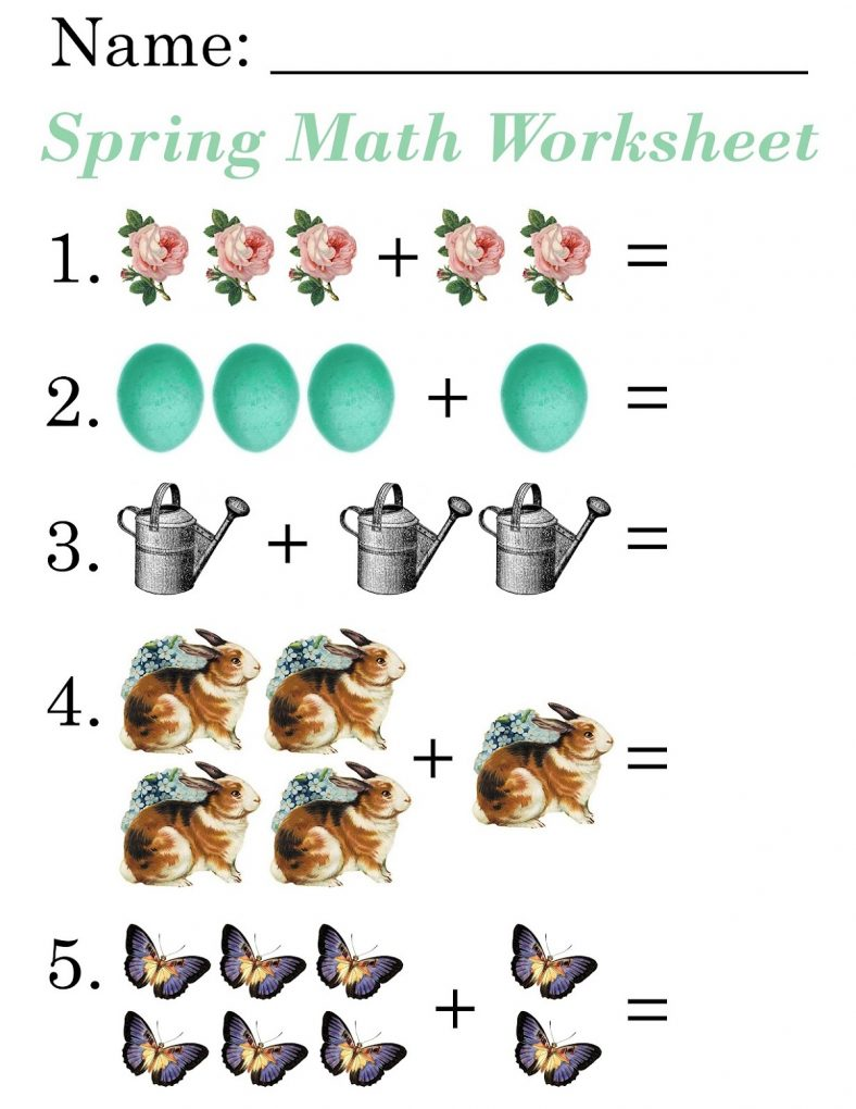Spring Picture Math Worksheets