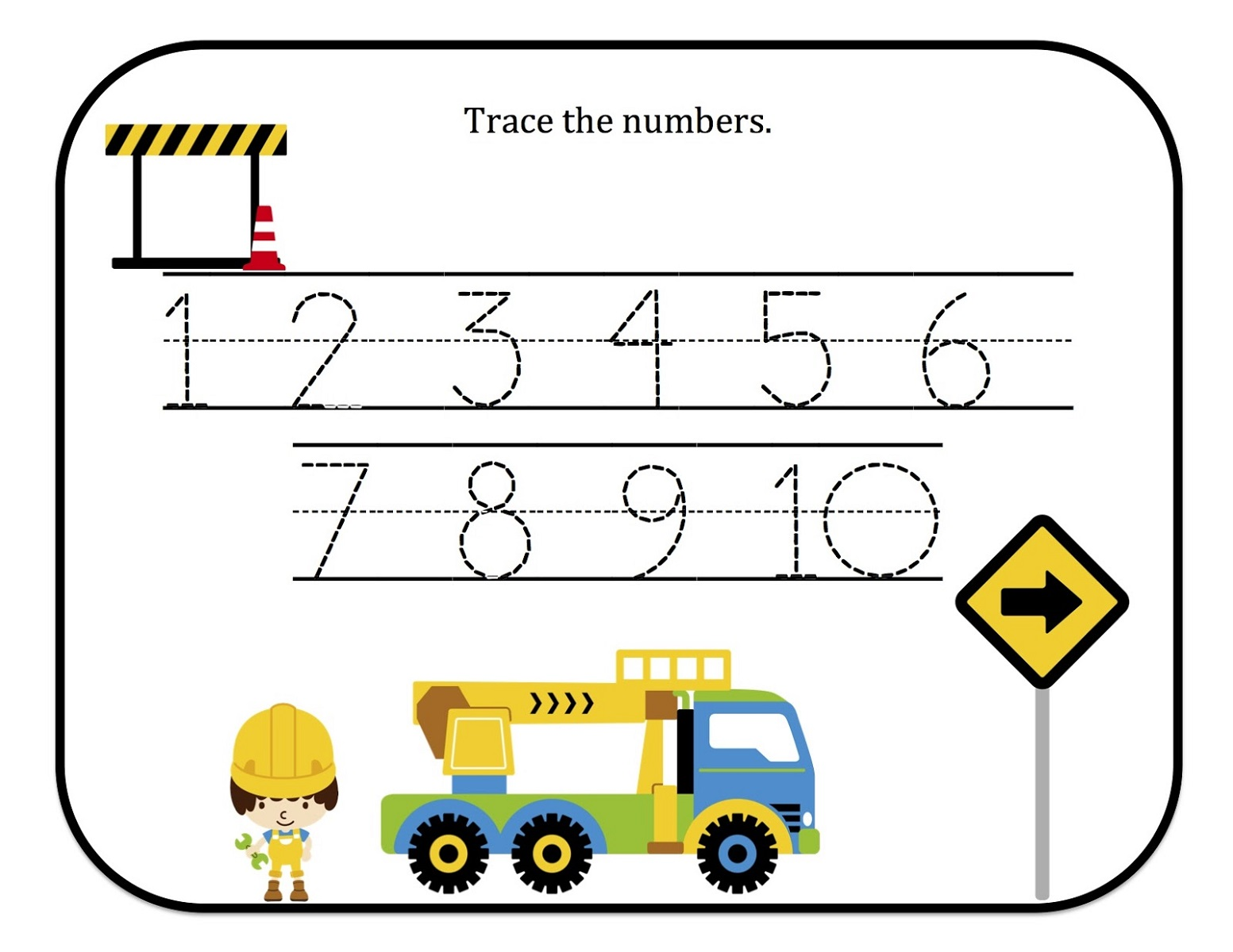 Traceable Numbers 1-10 for Kids