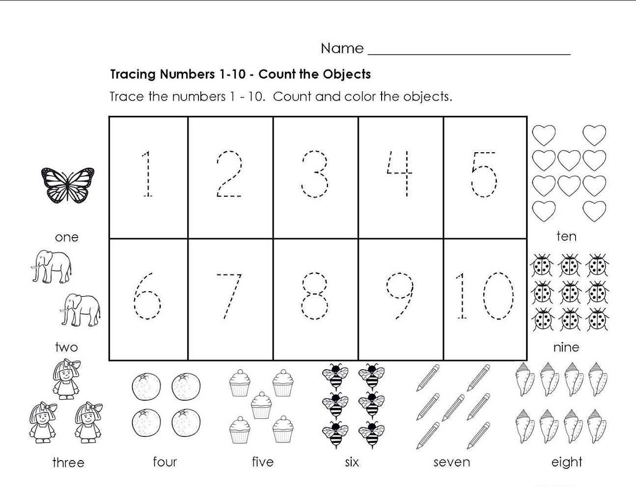 Printable Traceable Numbers 1-10 | 101 Activity