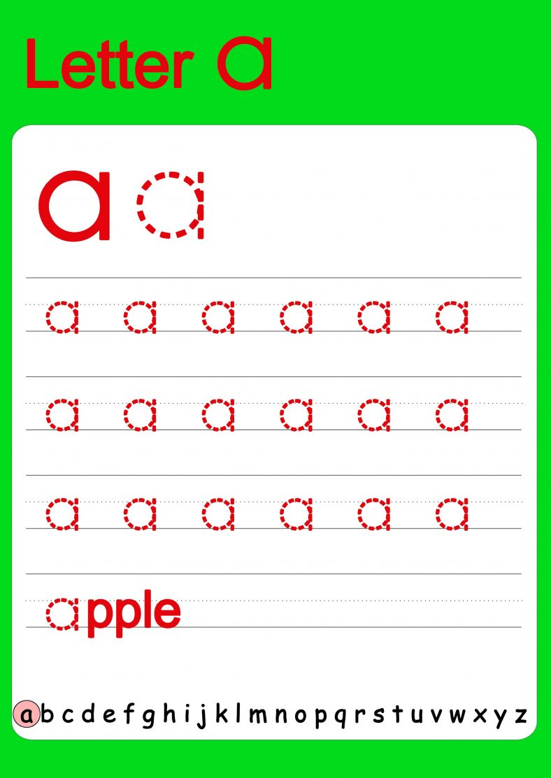 Tracing The Letter A Lowercase Letter