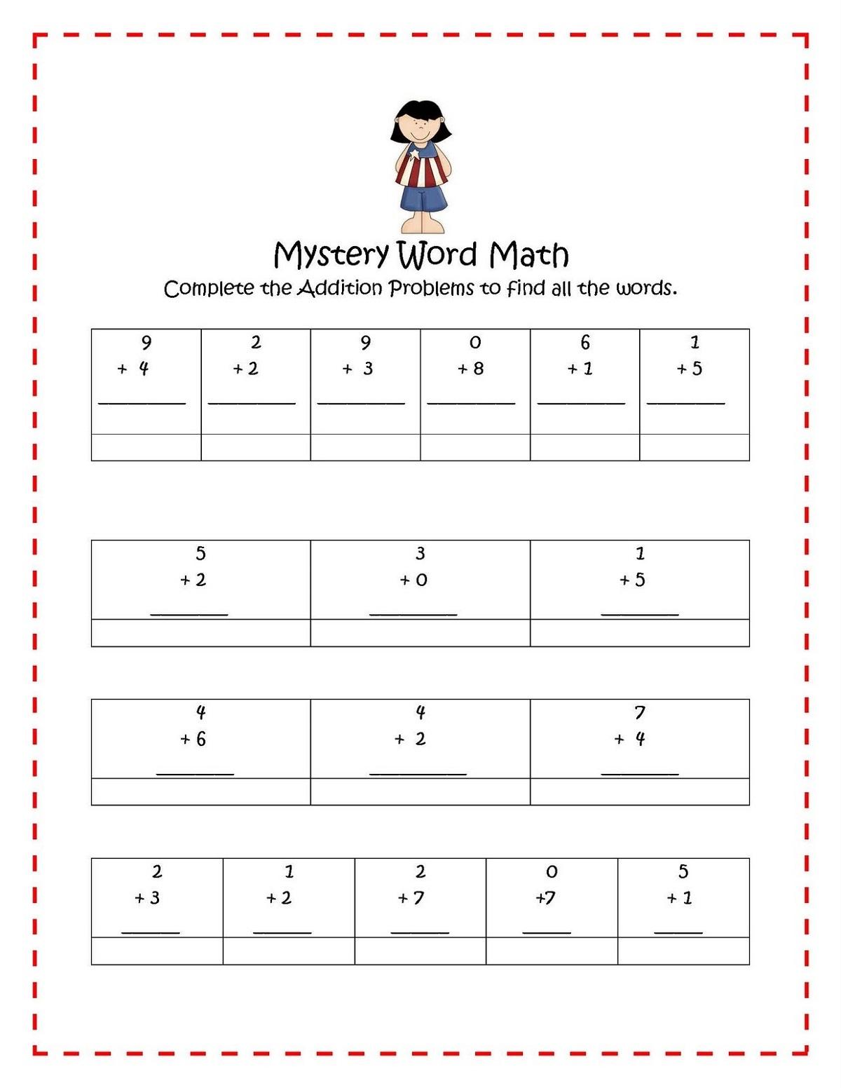 Addition Math Fun Sheets