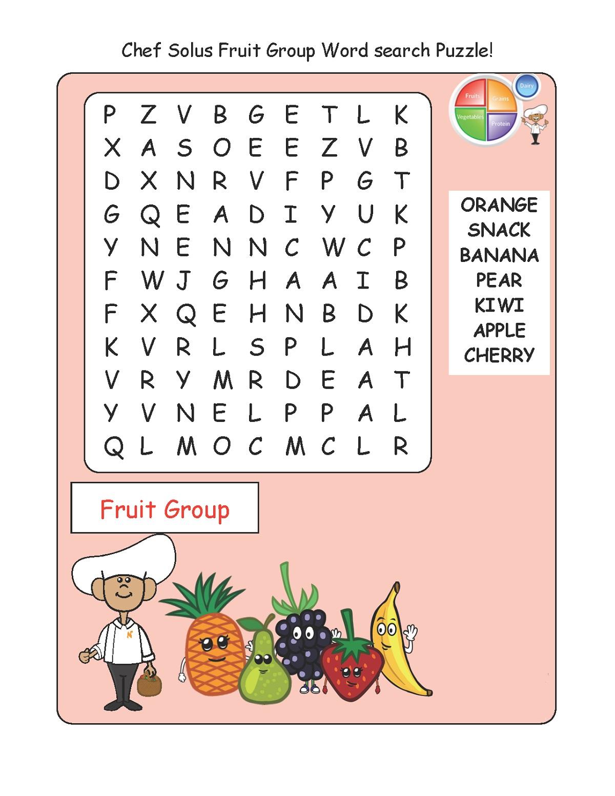 Fruit Wordsearch for Kids