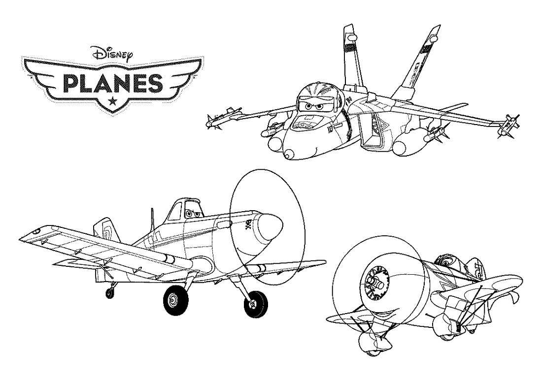 Planes Colouring Pages Cartoon