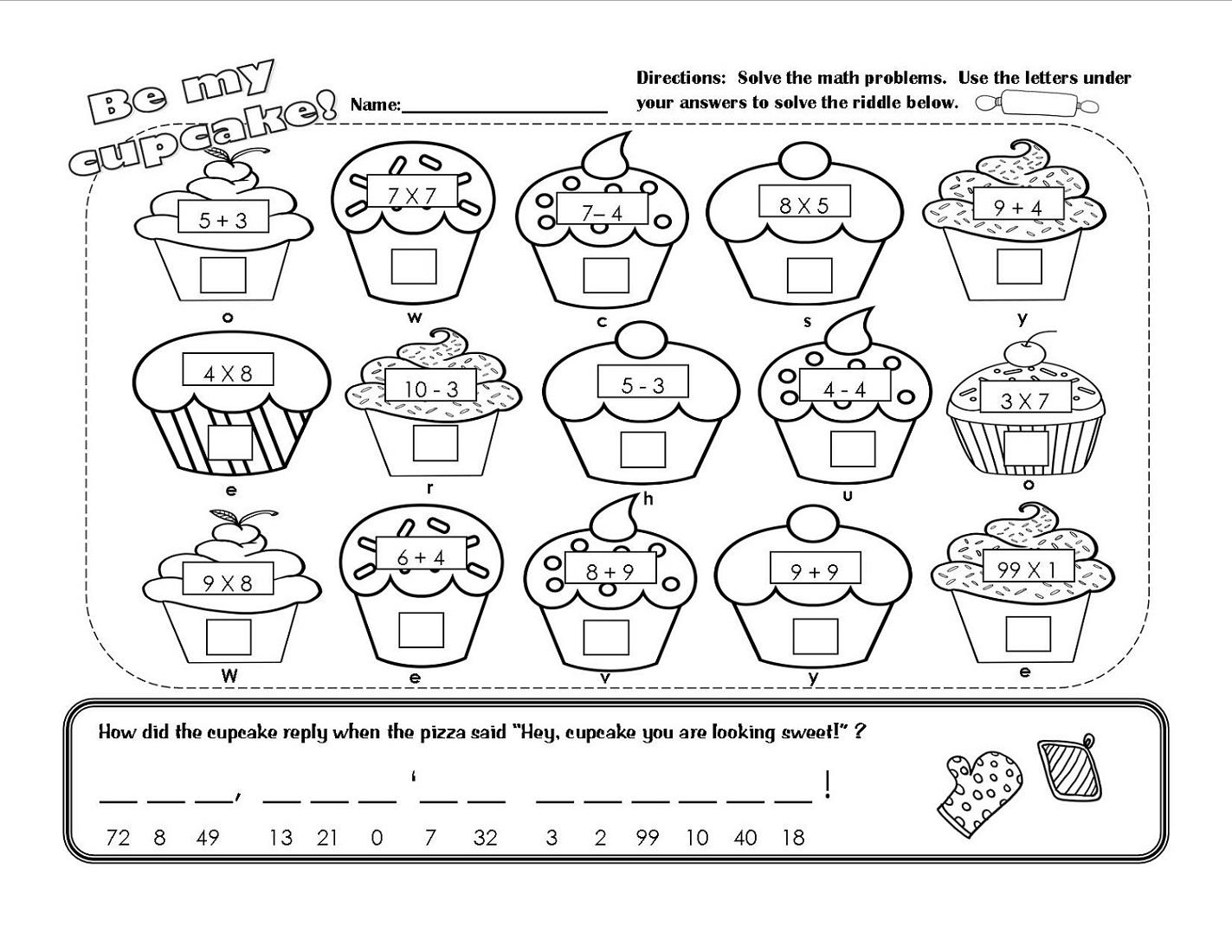 Printable Math Fun Sheets