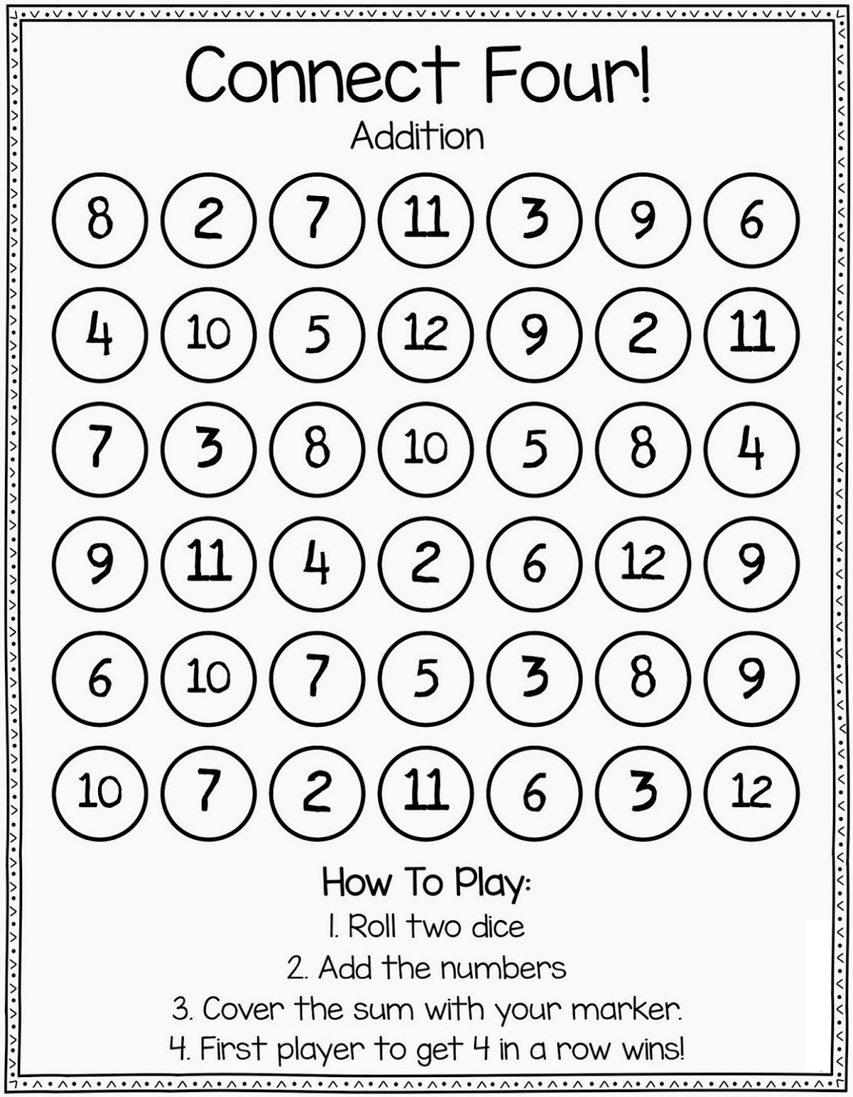 Printable Math Games Connect Four