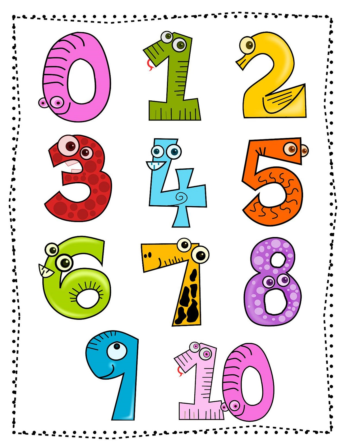 Printable Picture of Numbers