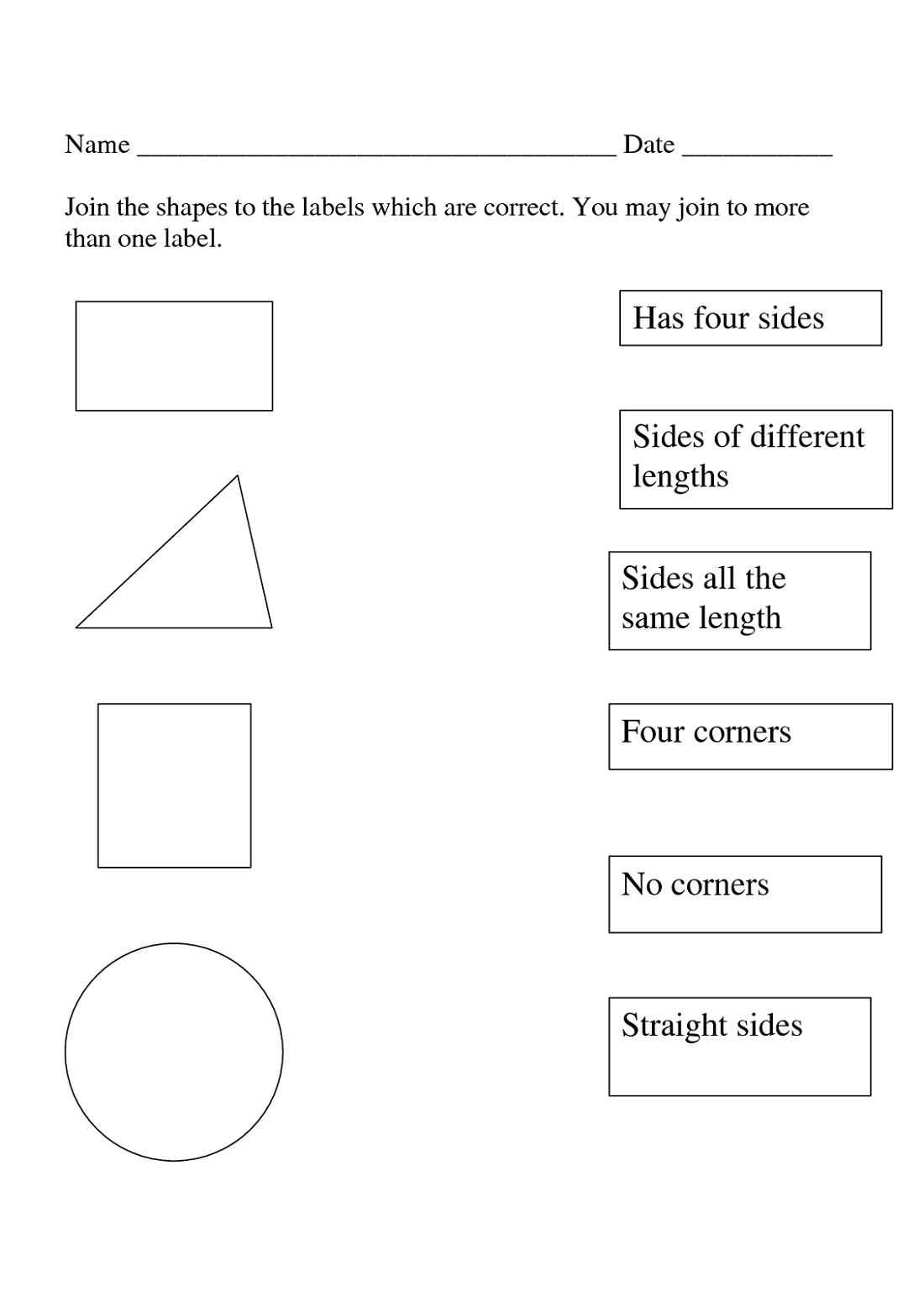Shapes and Sides Worksheet
