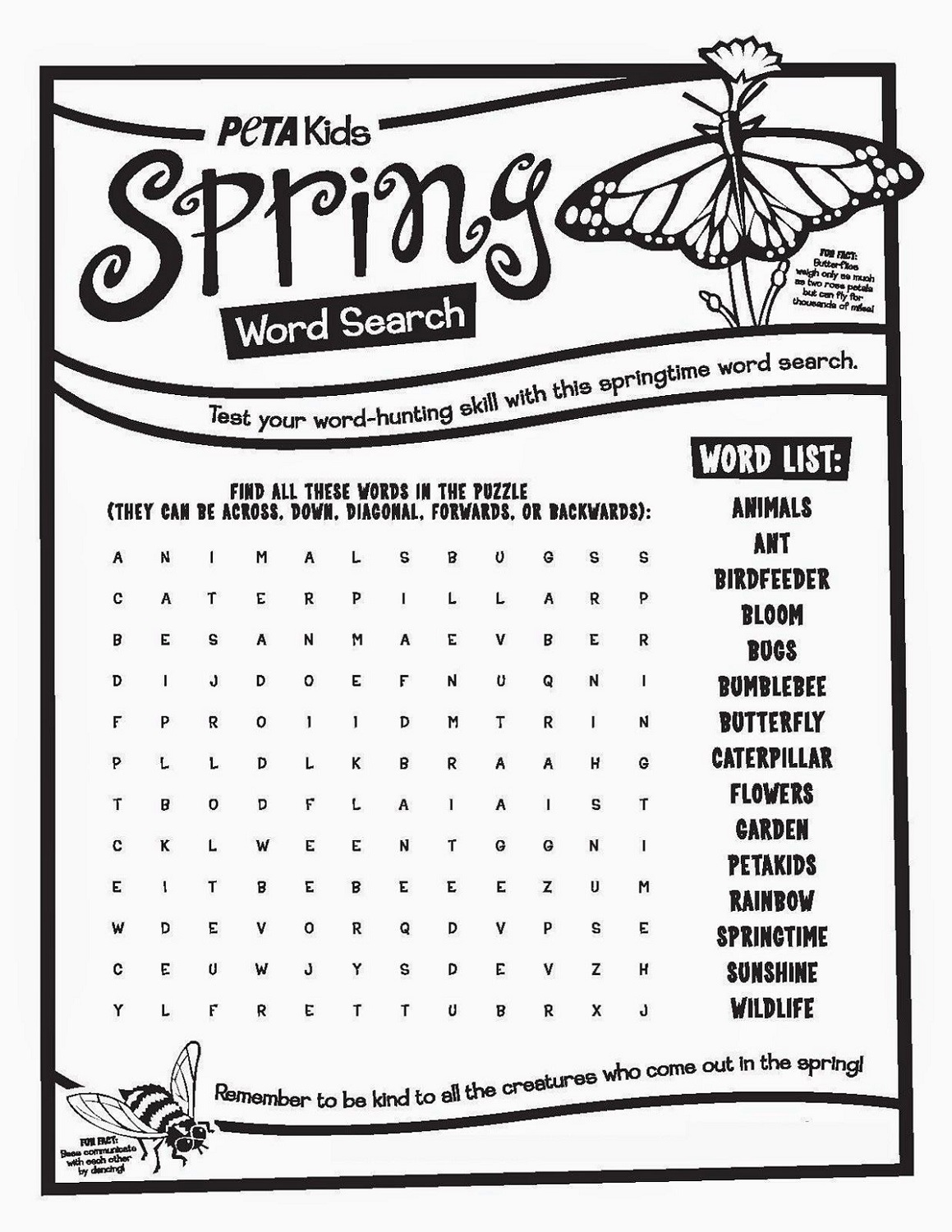 Spring Word Search for Kids Fun Worksheets