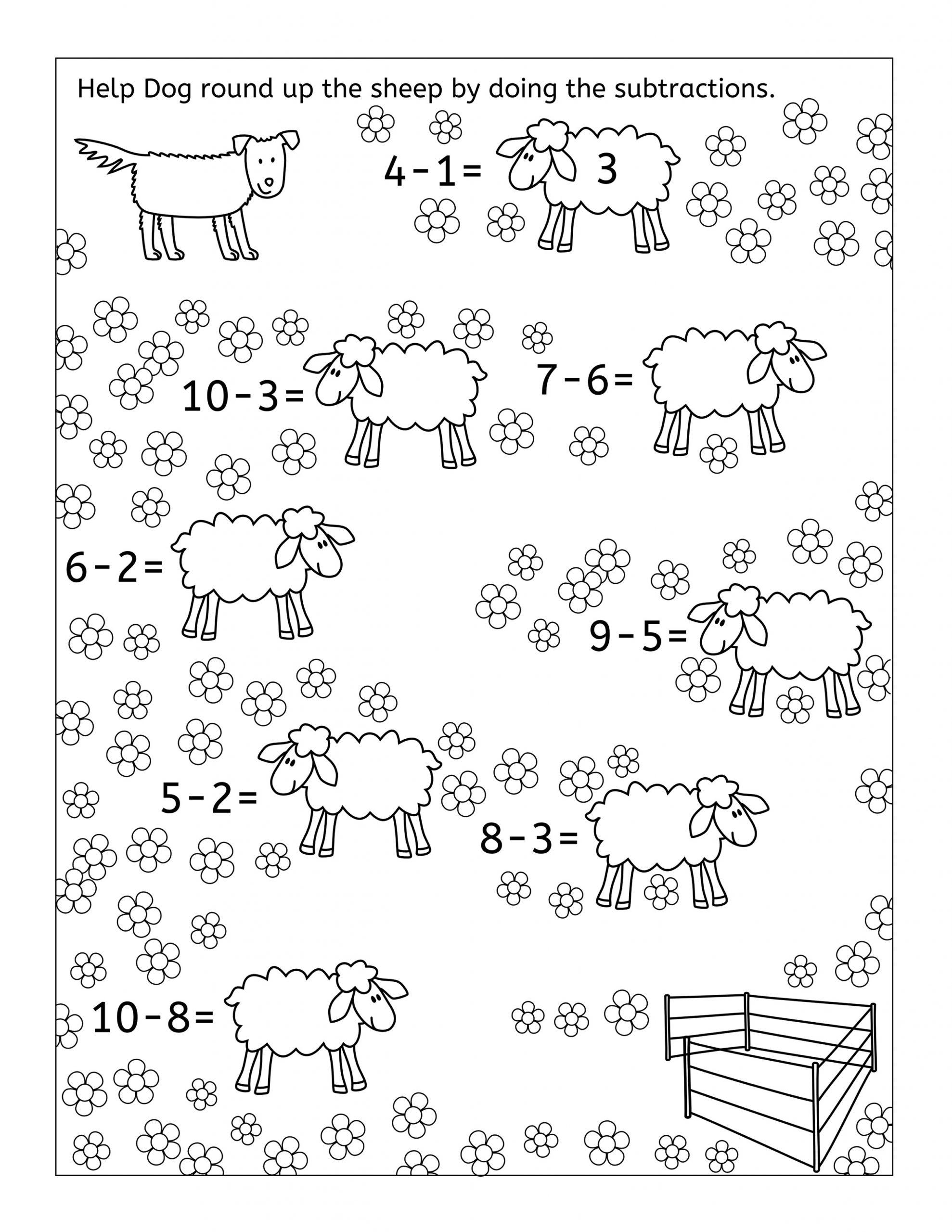 Subtractions Math Fun Sheets