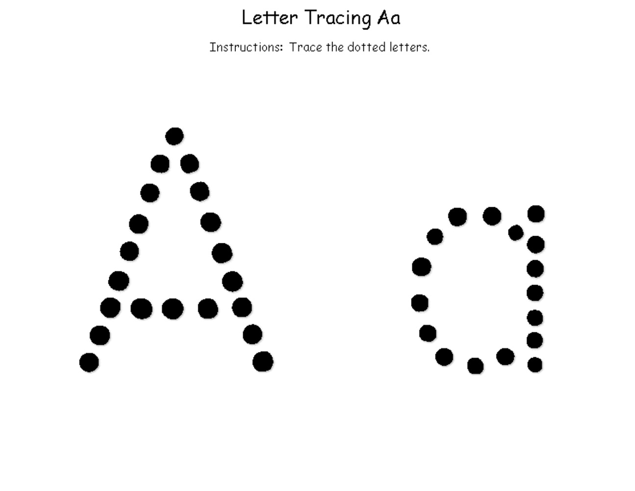 Trace Letter A Dotted Letter
