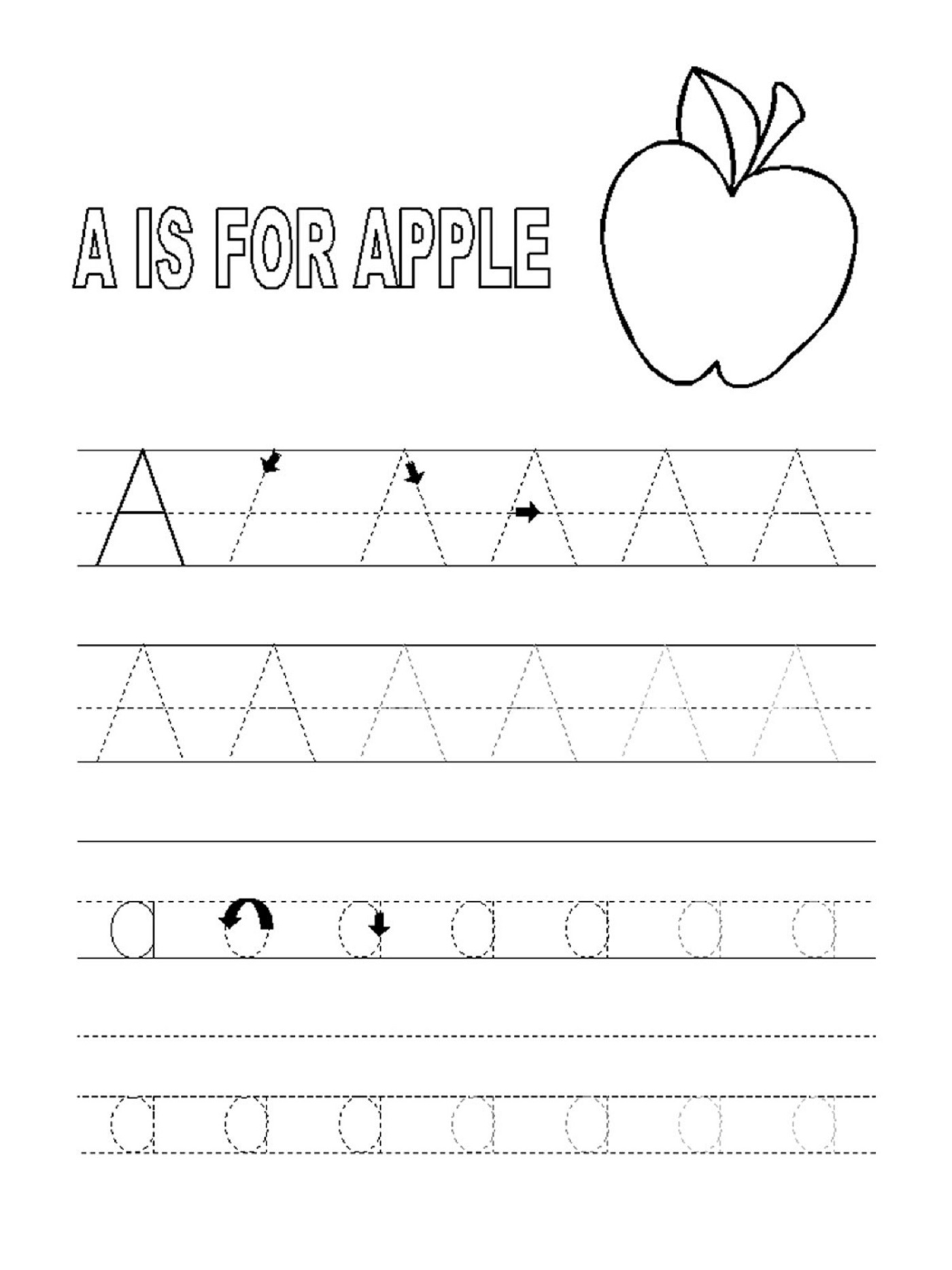 Trace Letter A With Pictures