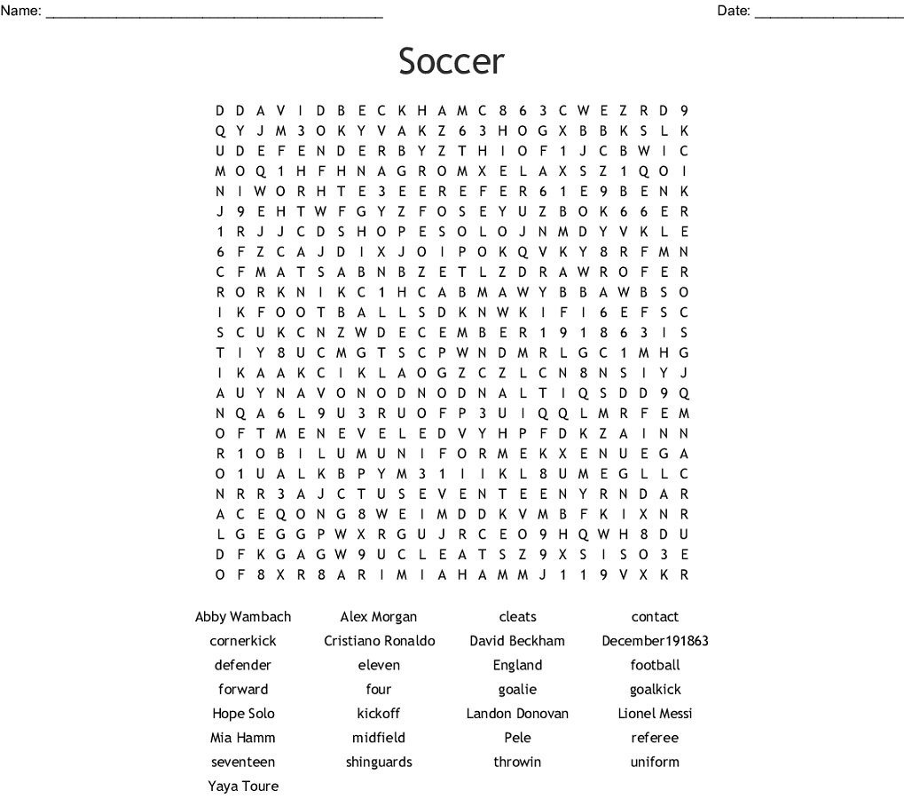 Soccer Word Search Players