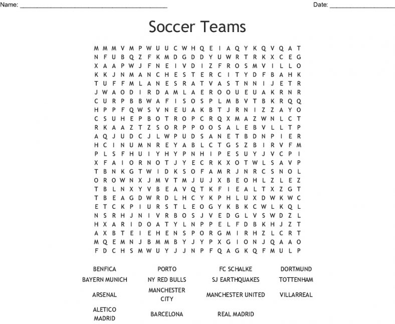 Soccer Word Search Teams