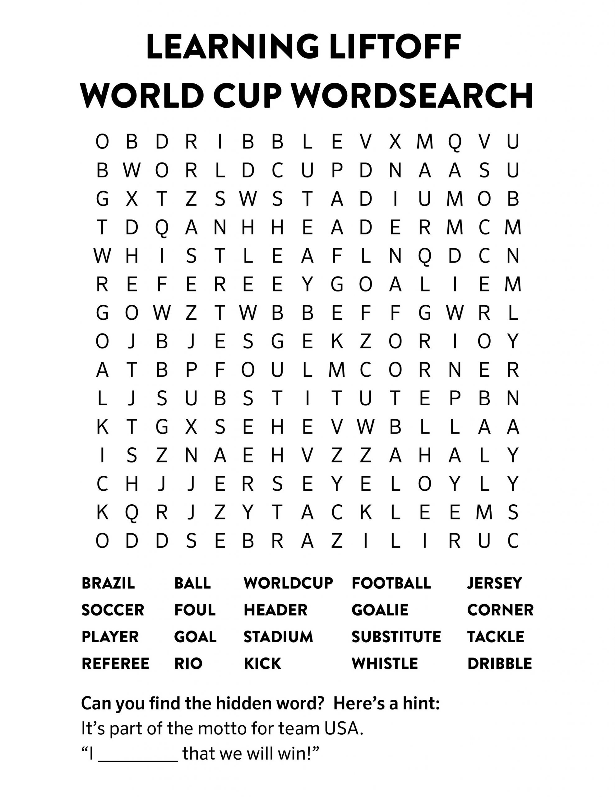 World Cup Soccer Word Search