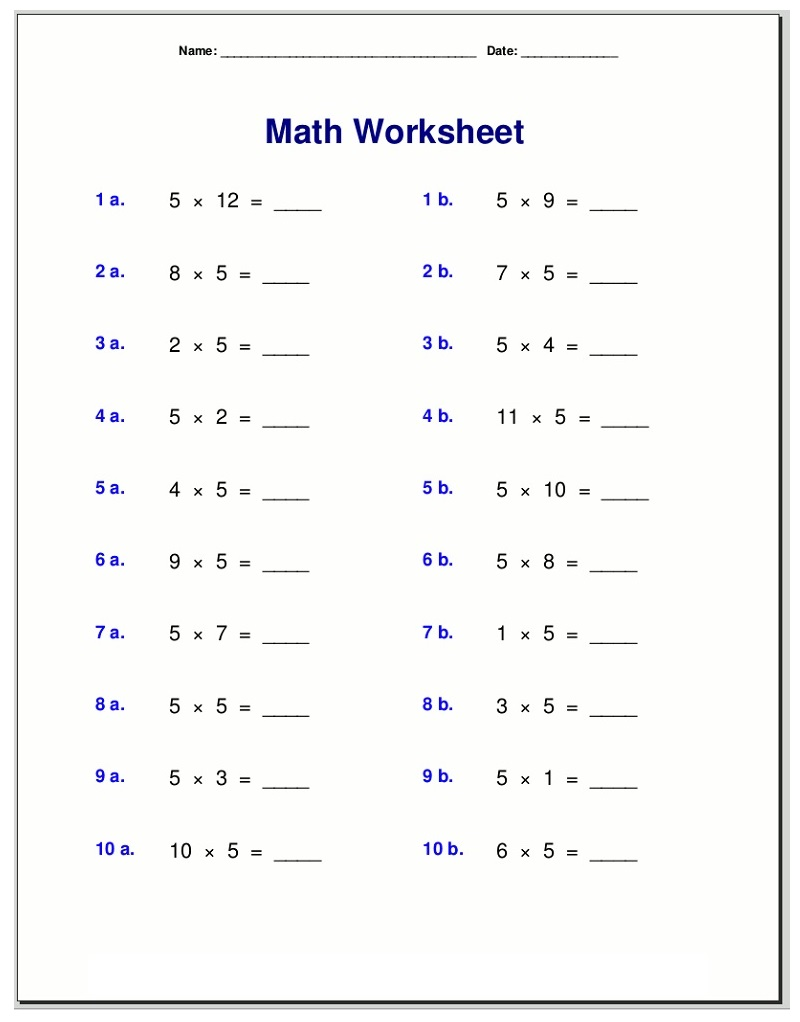 Free 5 Times Table Worksheet