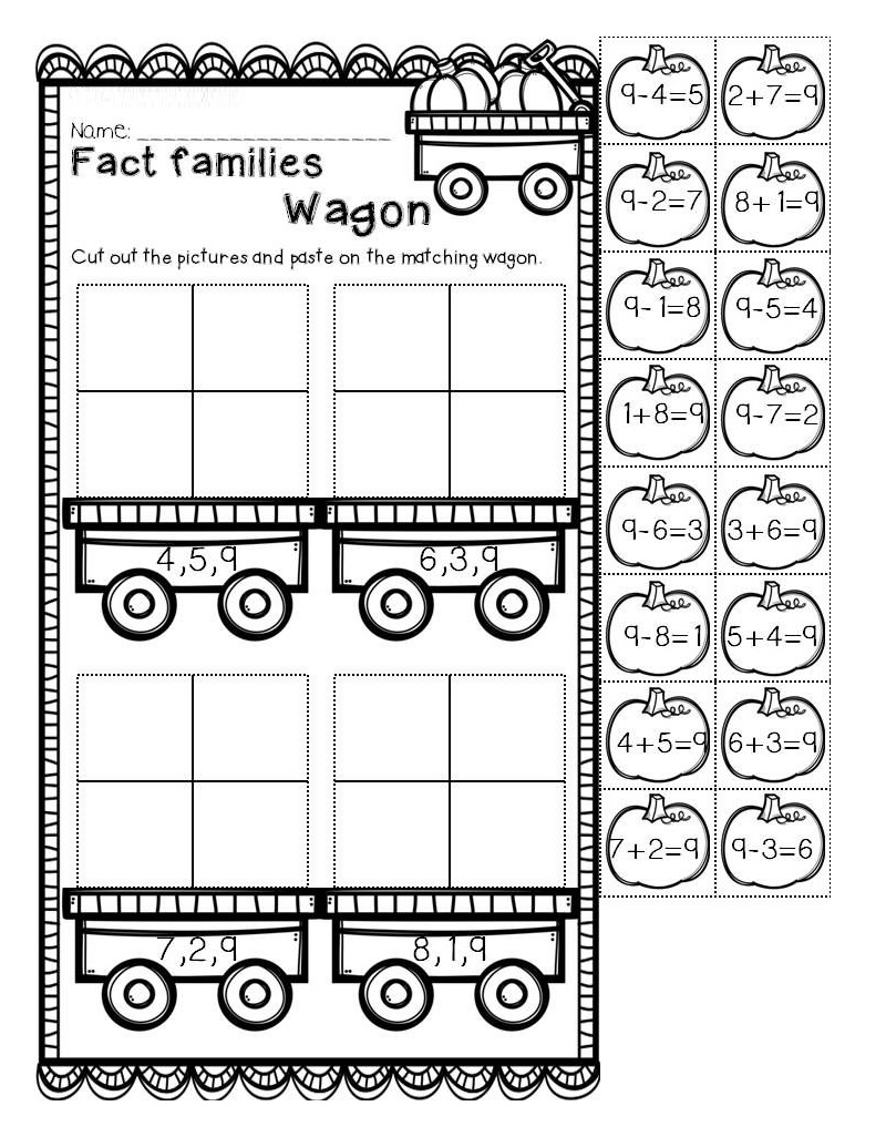 Fall First Grade Fact Family Worksheets