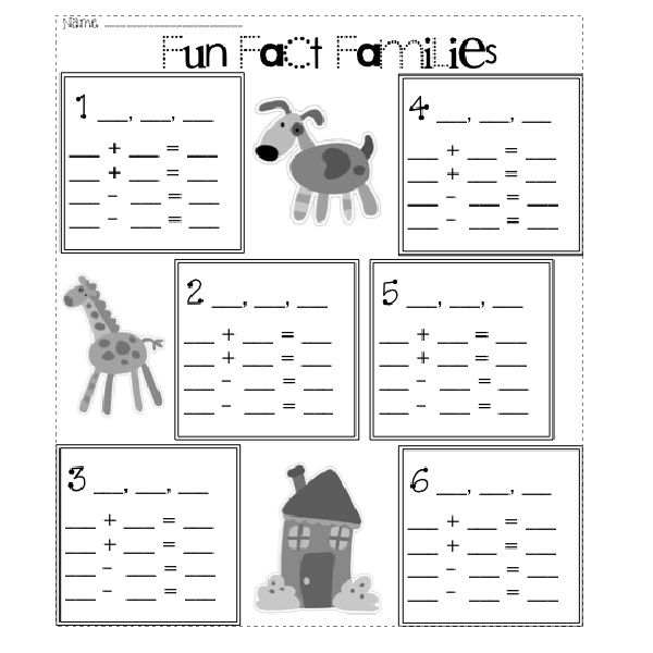 Fun First Grade Fact Family Worksheets
