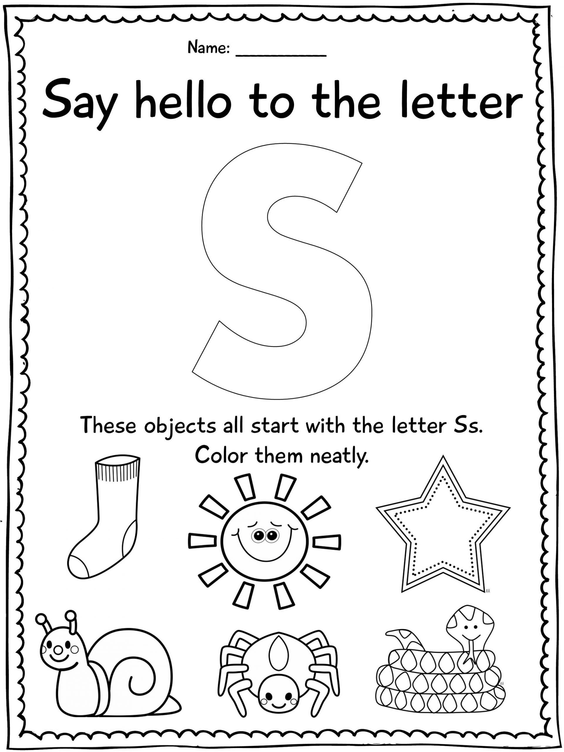 Letter S Worksheet for Kindergarten