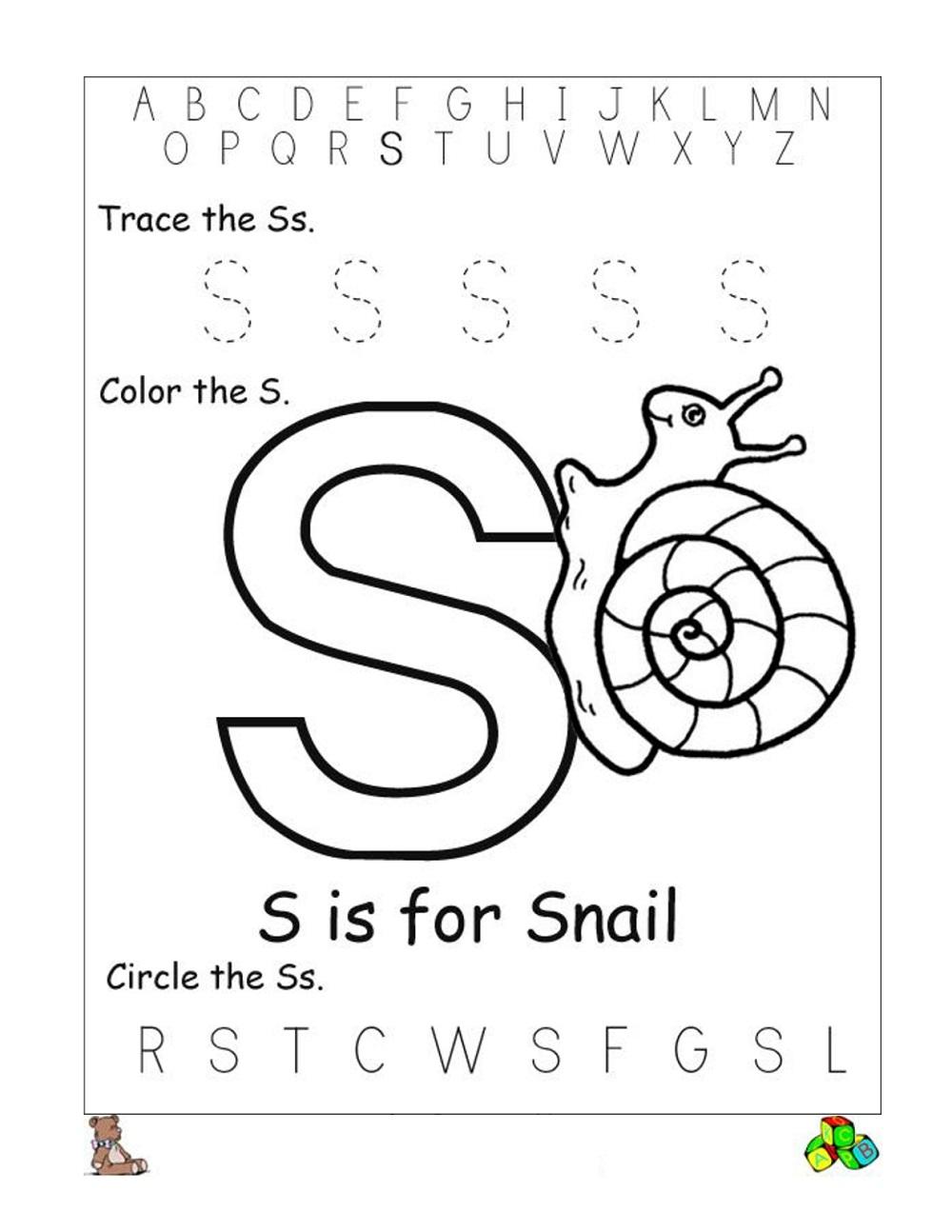 Printable Letter S Worksheet