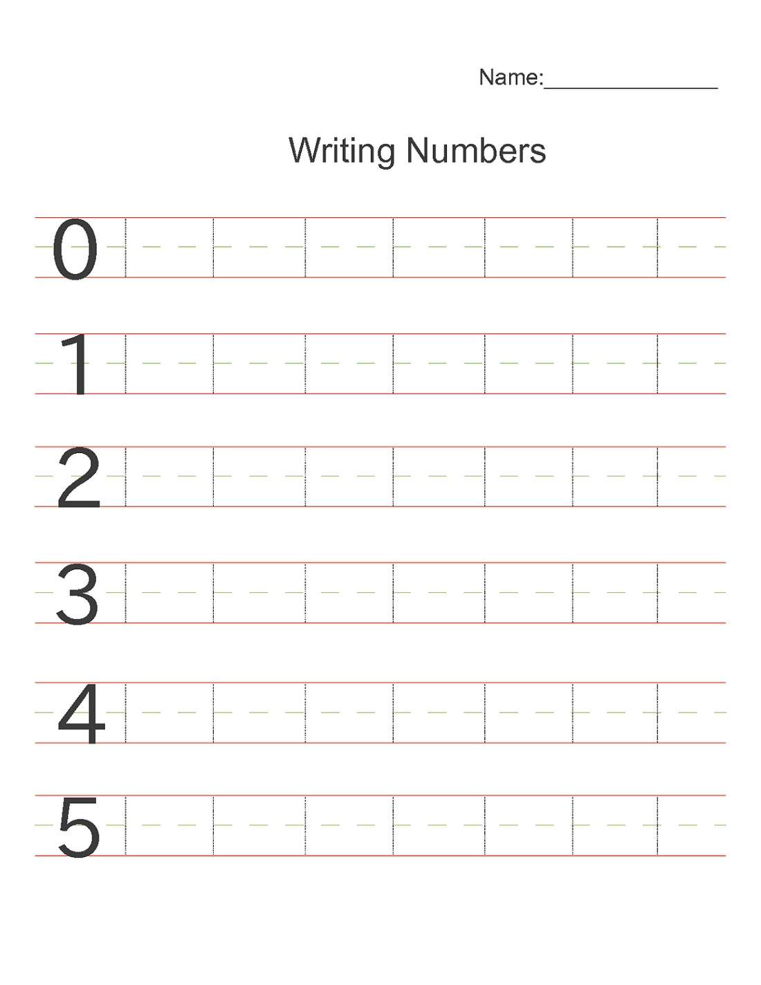 Printable Writing Numbers Worksheet