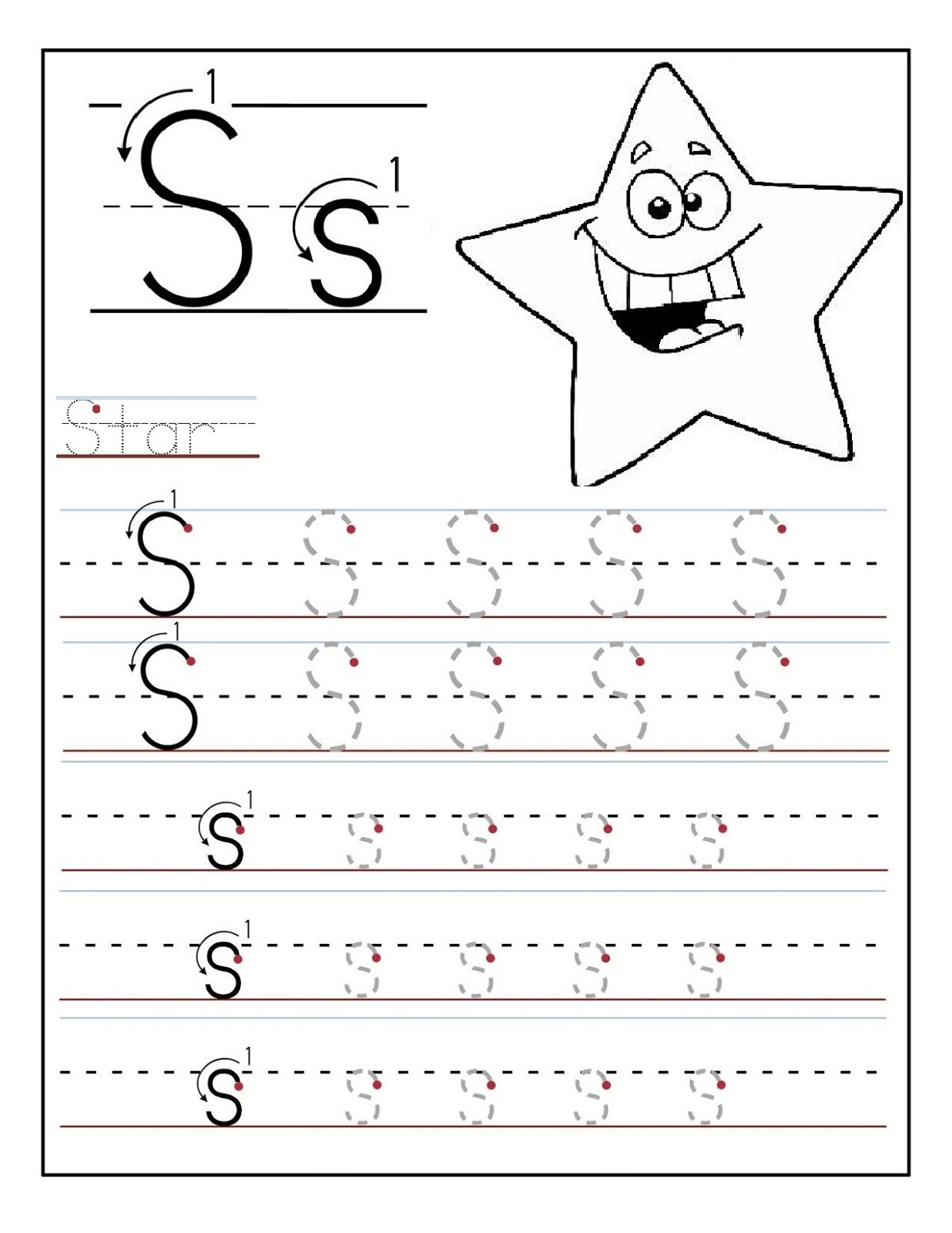 Tracing Letter S Worksheet
