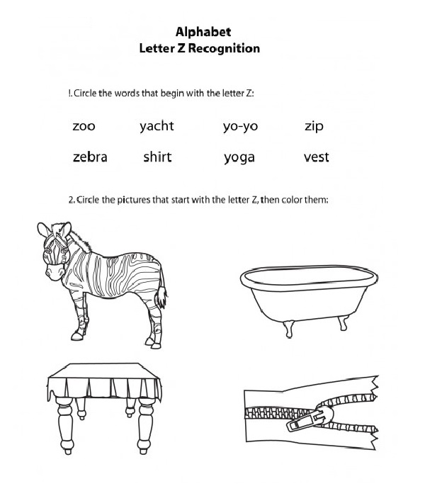 Alphabet Letter Z Worksheet