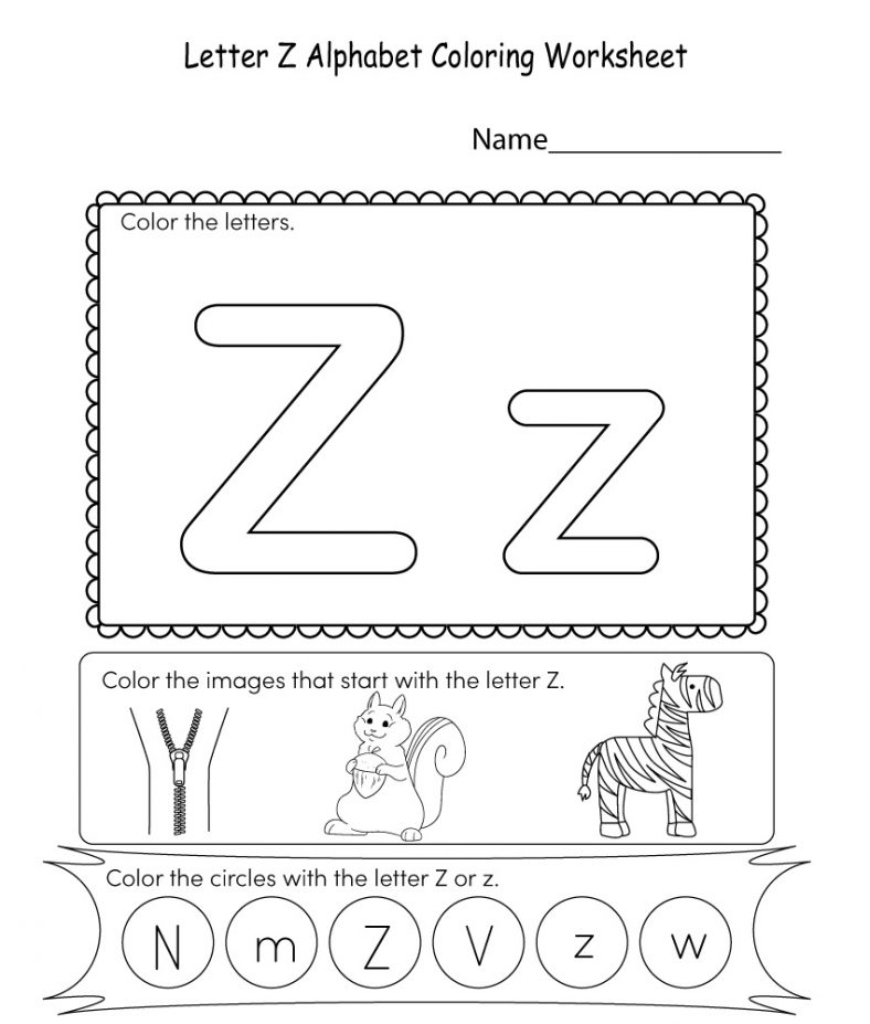 Coloring Letter Z Worksheet