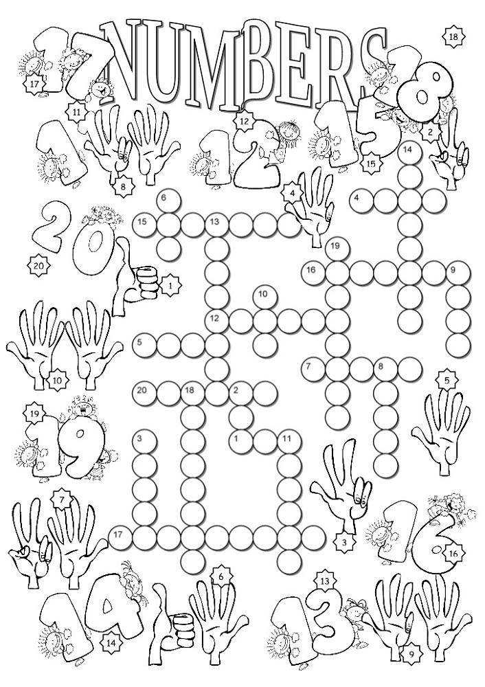 Crossword Numbers 1-20 Worksheets