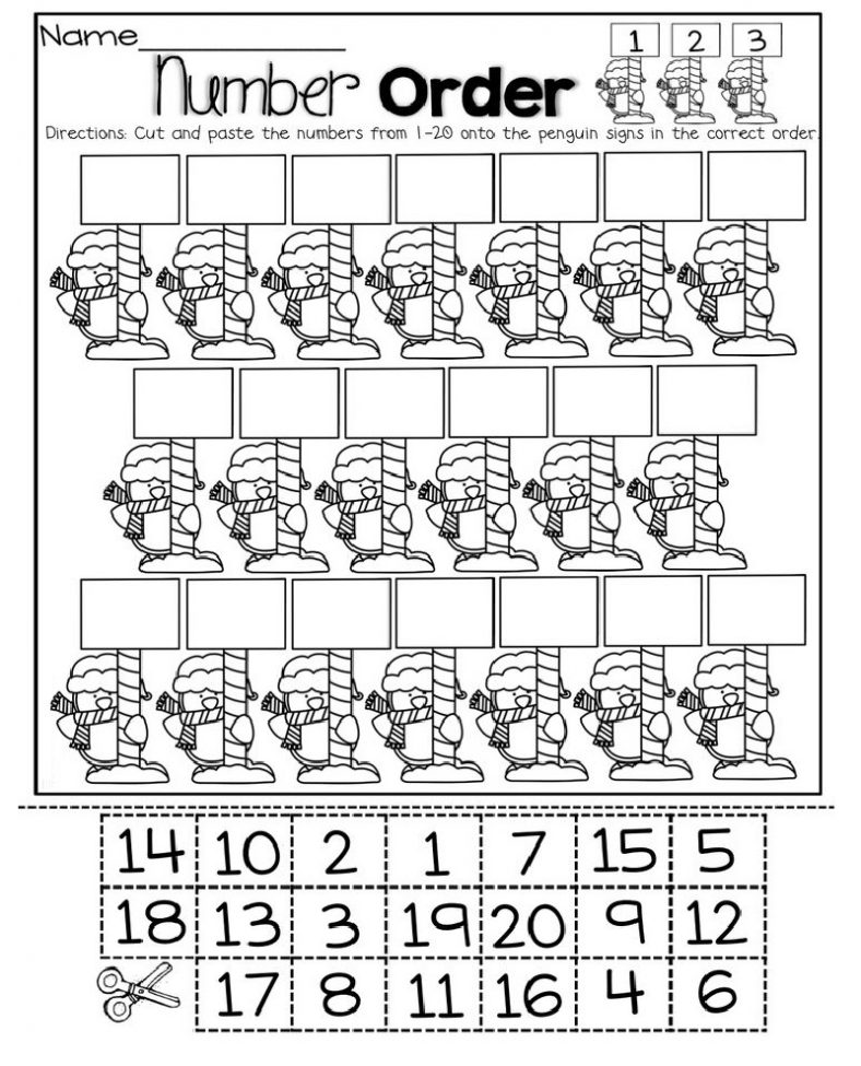 Cut and Paste Numbers 1-20 Worksheets