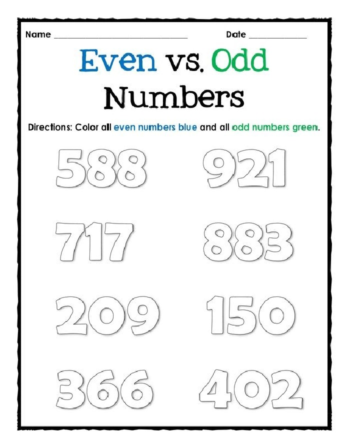 Free Odd And Even Numbers Worksheets