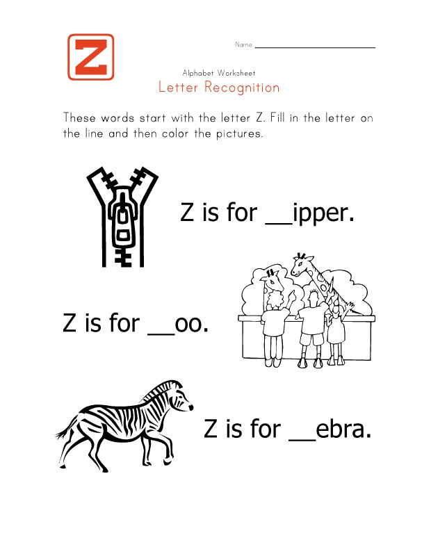 Missing Letter Z Worksheet