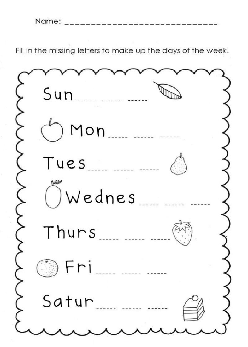 Printable Free Days Of The Week Worksheets
