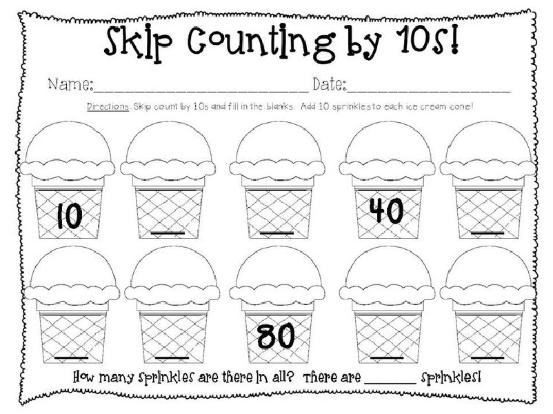 Printable Skip Count By 10 Worksheet
