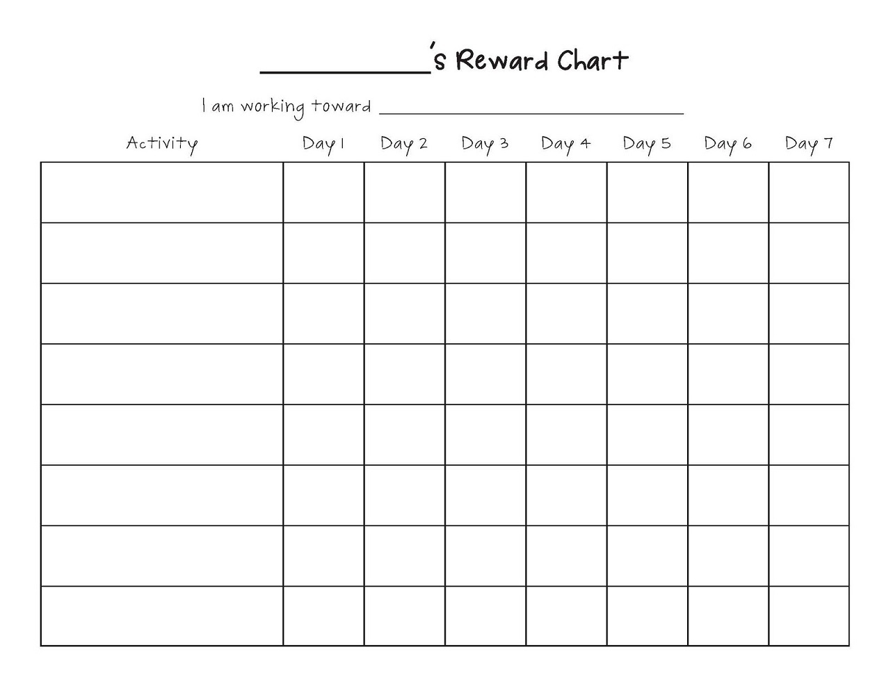 Simple Reward Chart Template